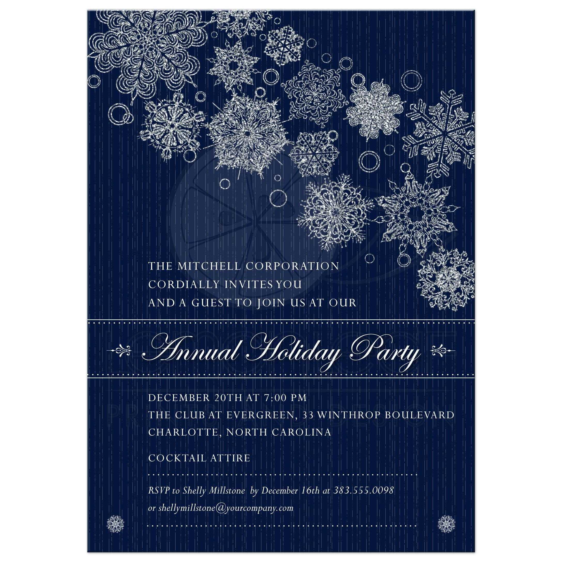 party invitation blue corporate holiday party faux glitter snowflakes