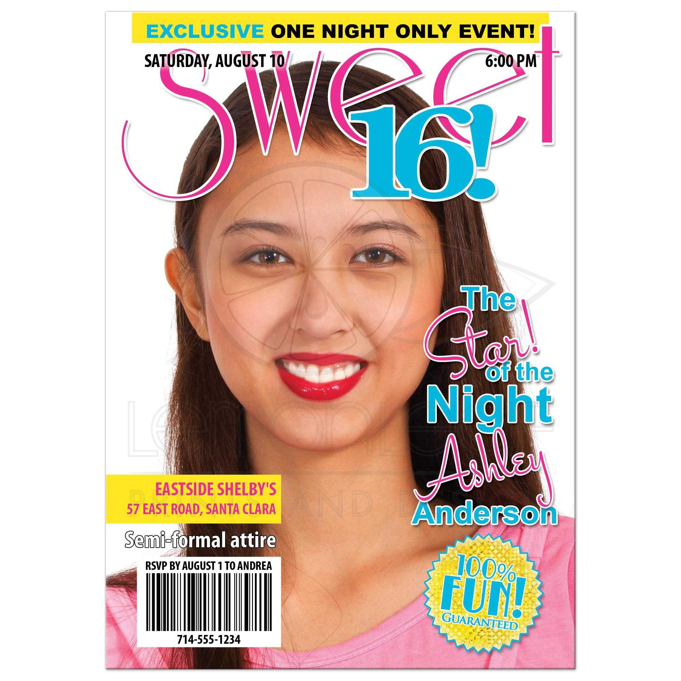 Teen Celebrity Magazine Sweet 16 Birthday Invitation – Magazine Cover Birthday Invitations