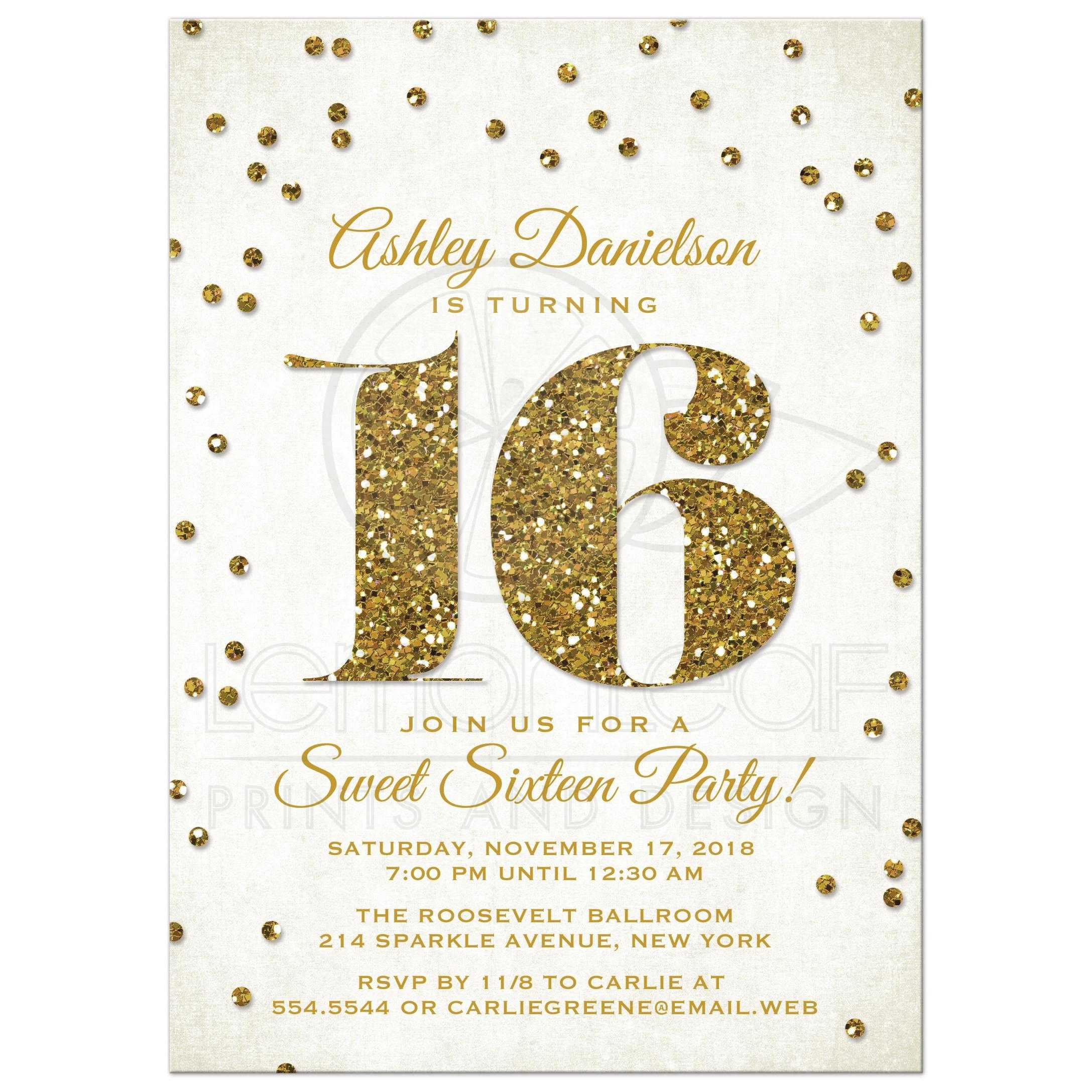 sweet 16 party invitations gold glitter look confetti