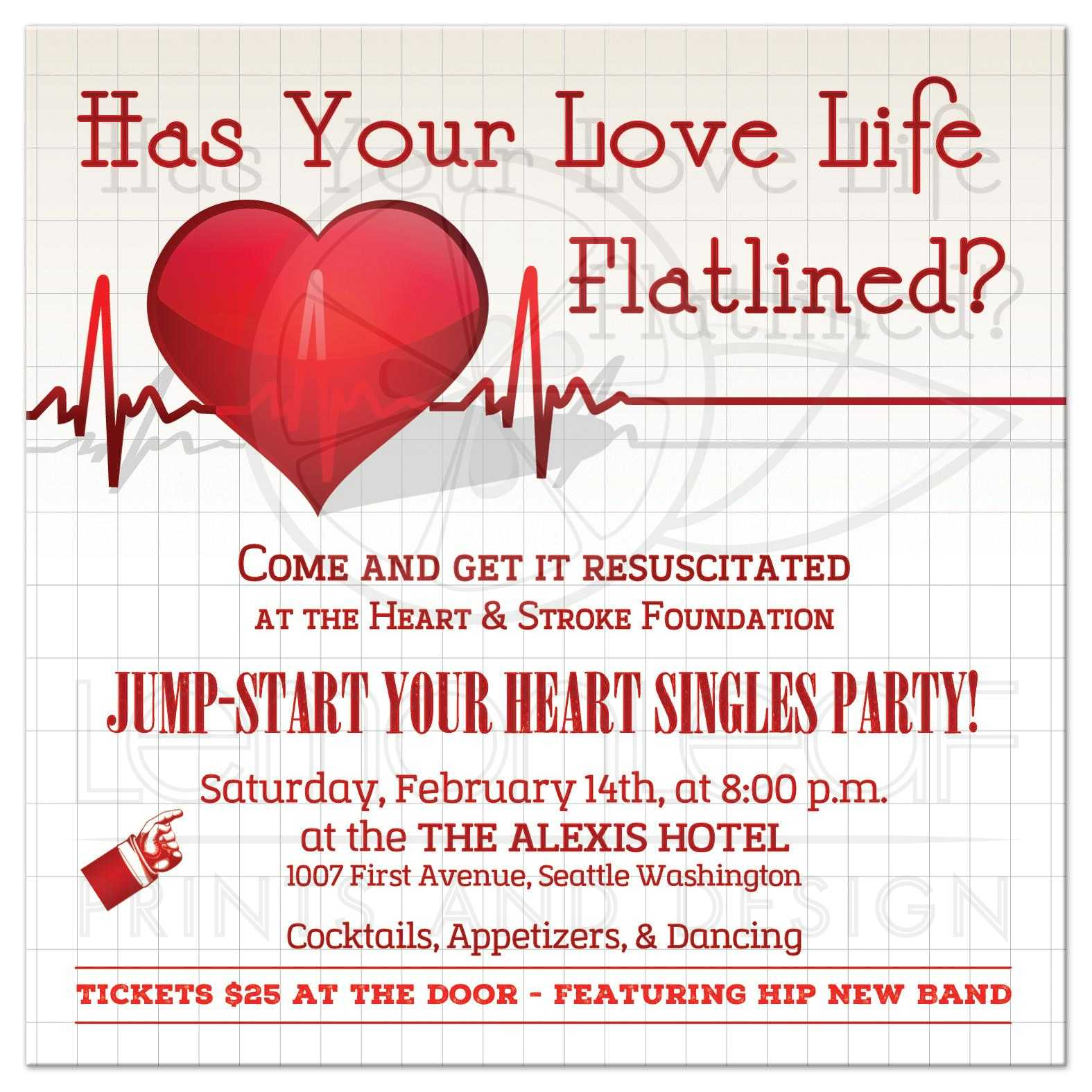 Valentine\'s Day Invitation | Jump-start Your Heart Singles Party!