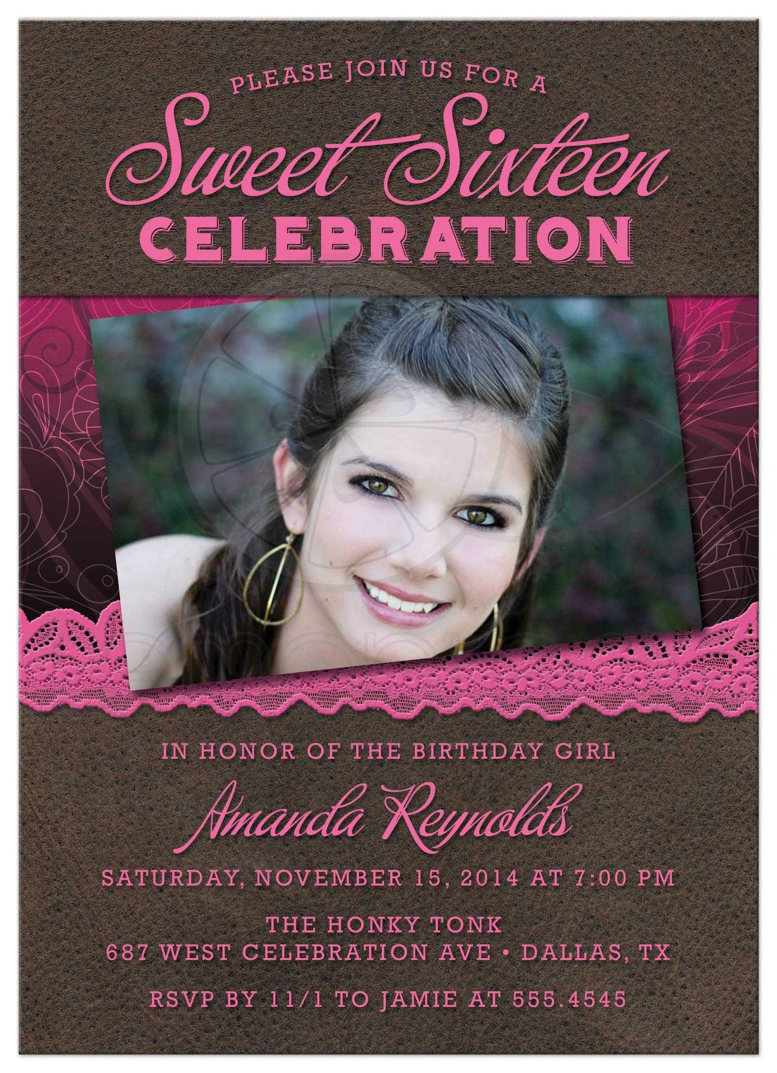 Rustic Leather Lace Sweet 16 Party Invitations Front