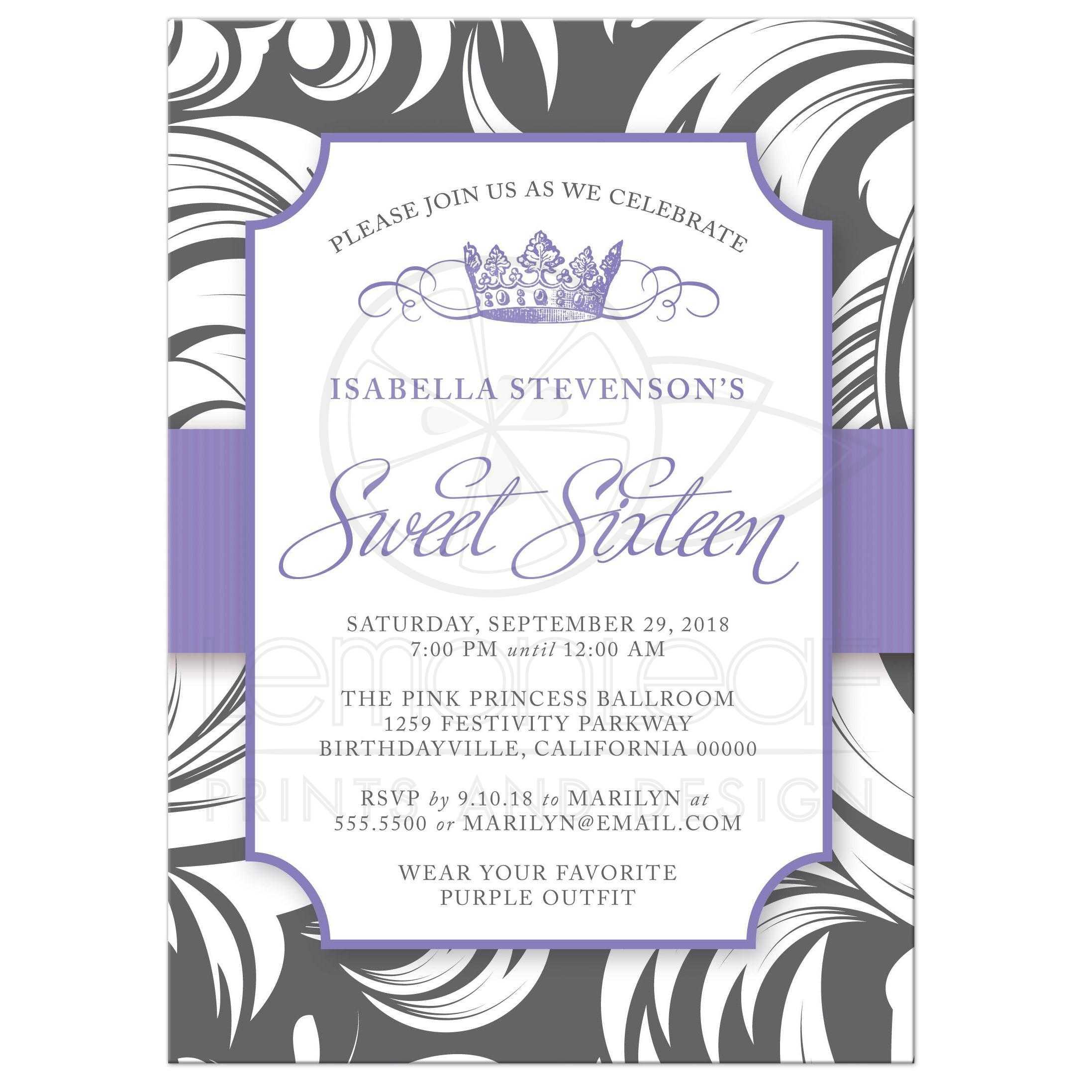 sweet 16 party invitations purple fancy crown