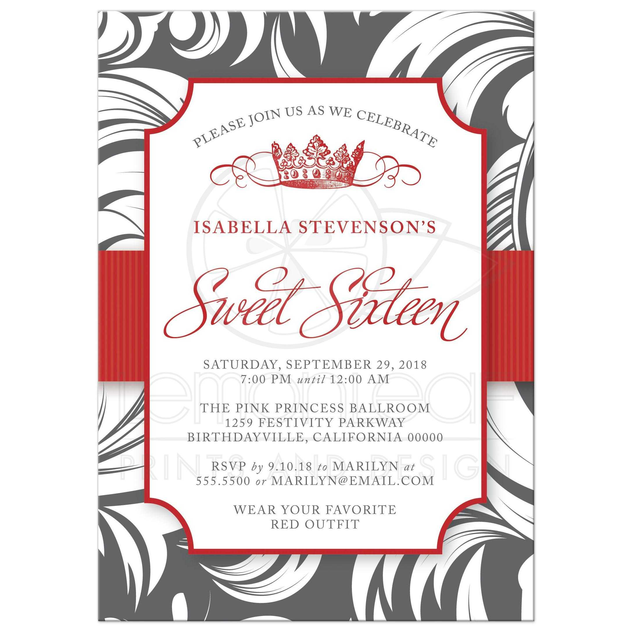 Sweet Party Invitations Red Fancy Crown
