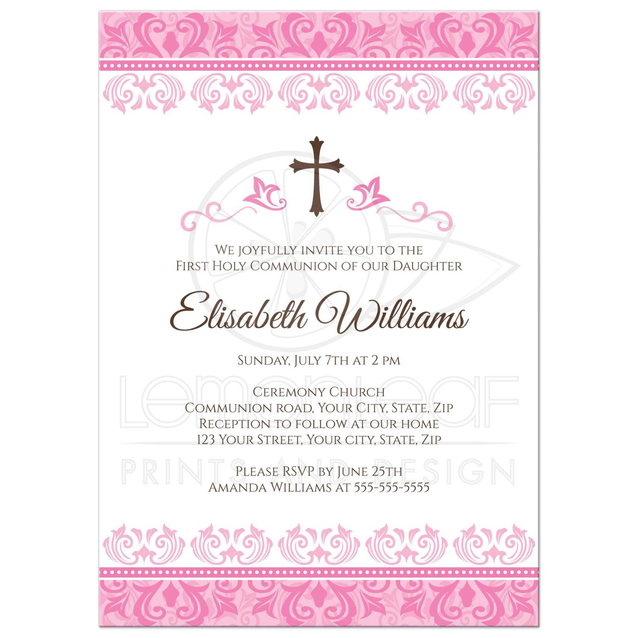 Elegant Pink Damask First Holy Communion Confirmation Invitation