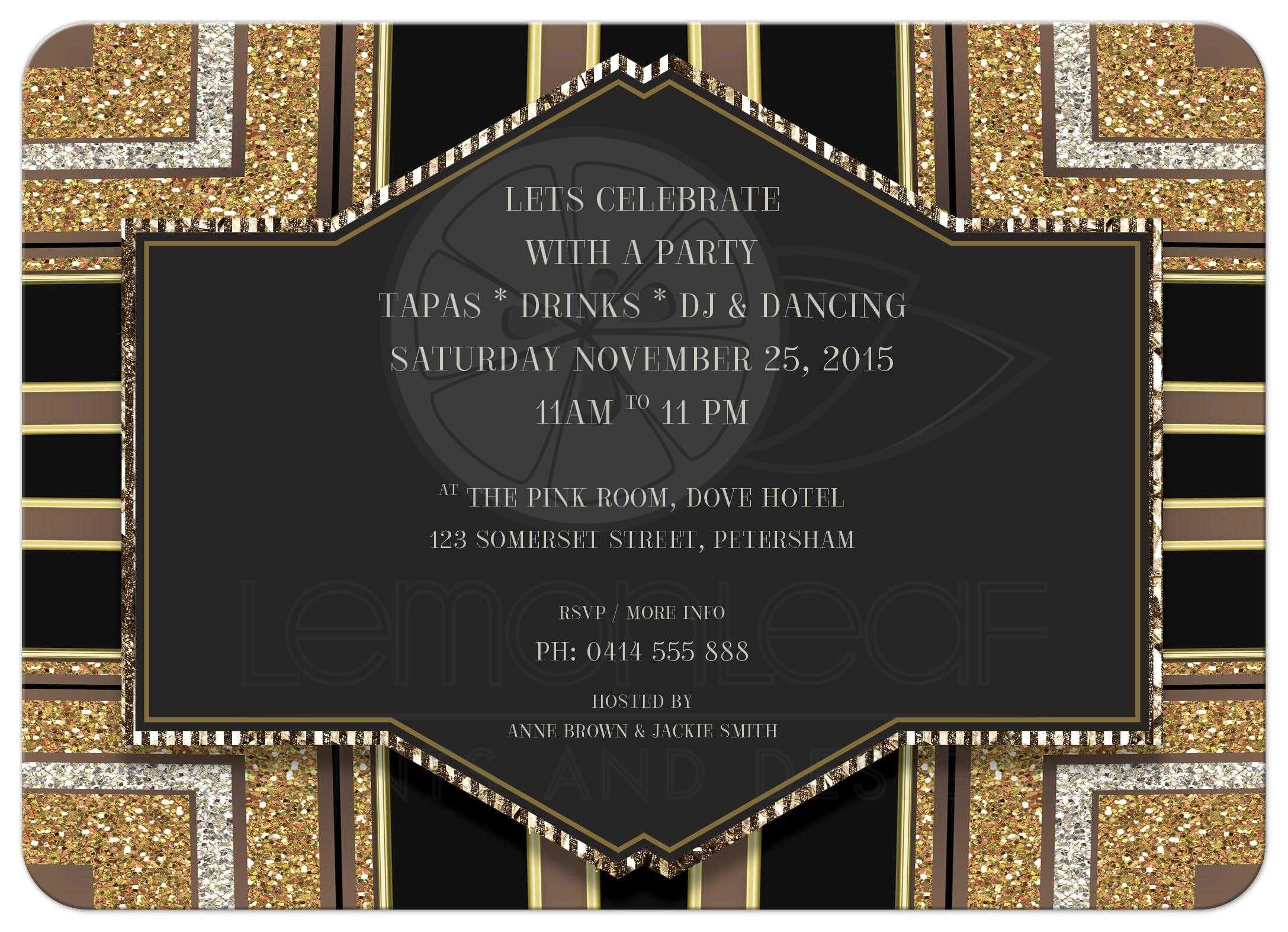 Glitterati Art Deco Office Party Invitation – Art Deco Party Invitations