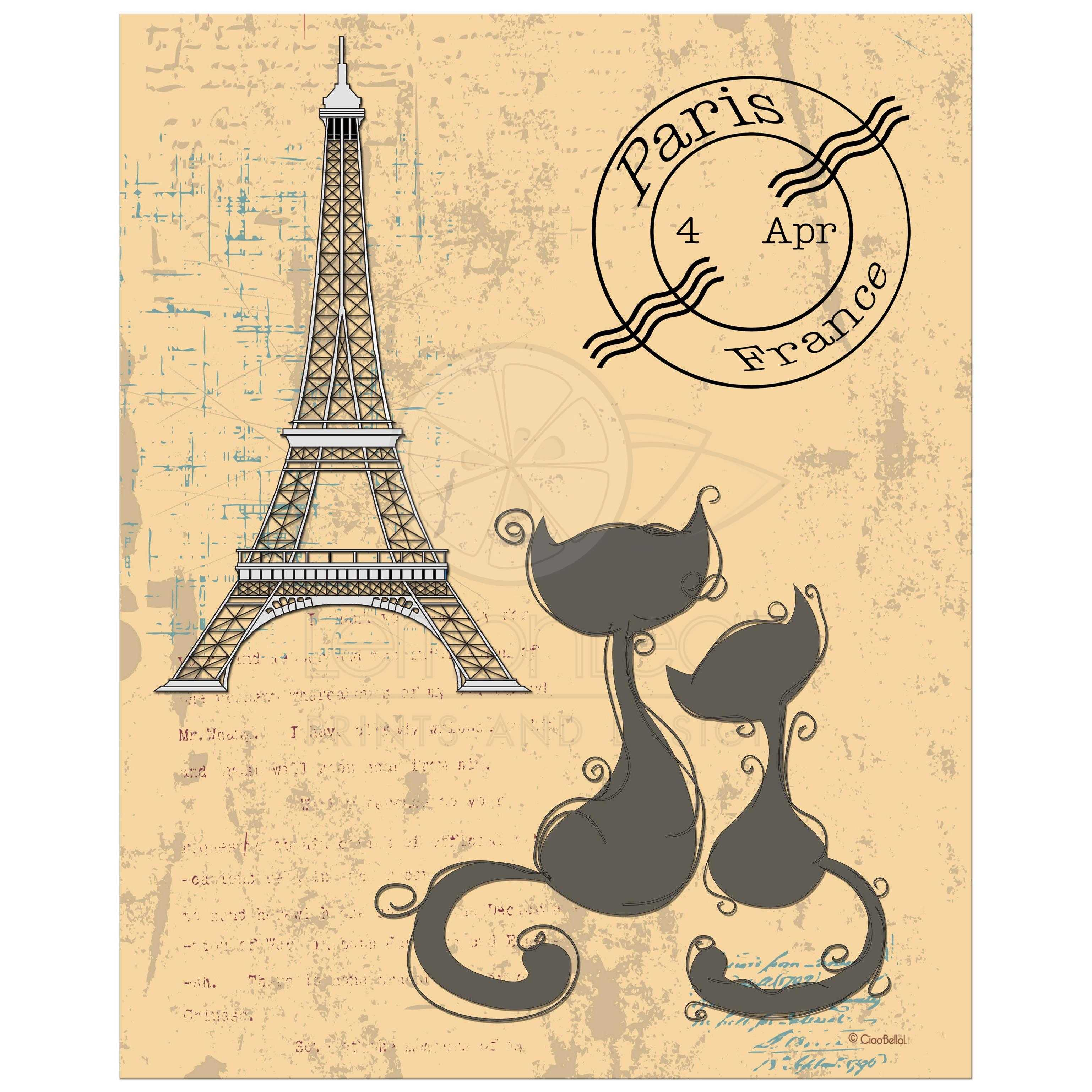 Whimsical Cats And Eiffel Tower Art Print