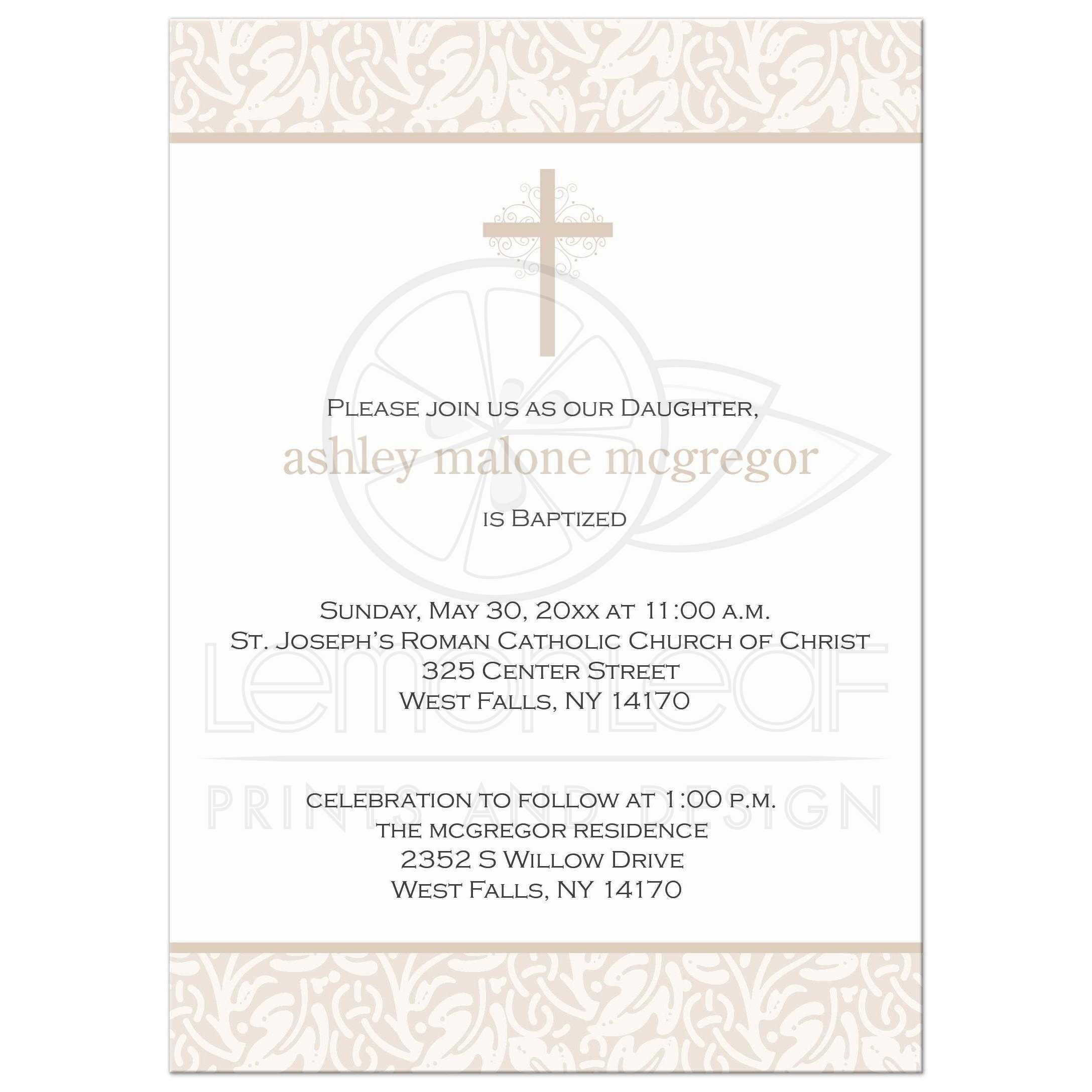 Modern baptism christening invitation neutral neutral baptism invitation stopboris Gallery