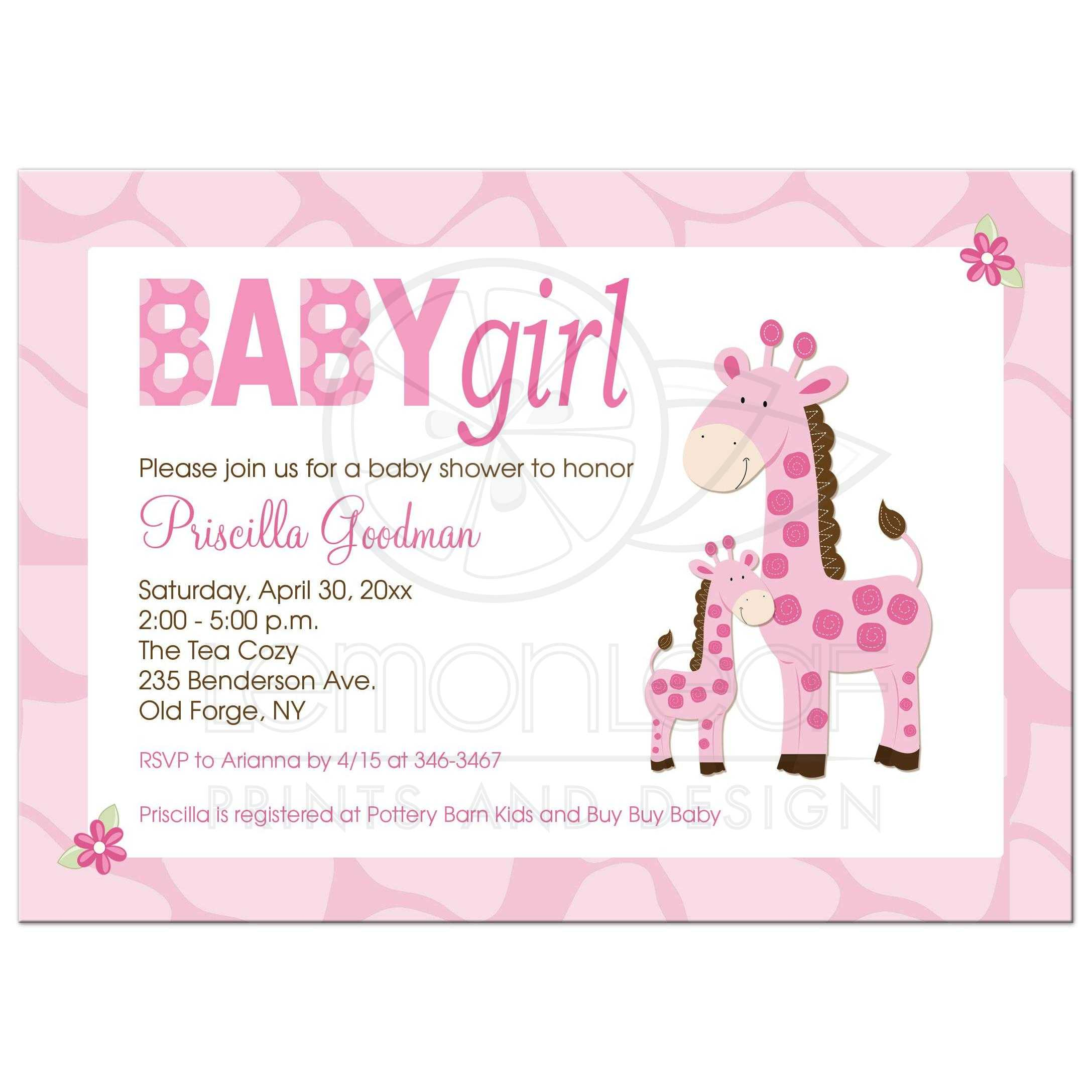 Mommy And Baby Pink Giraffe Girl Baby Shower Invitation