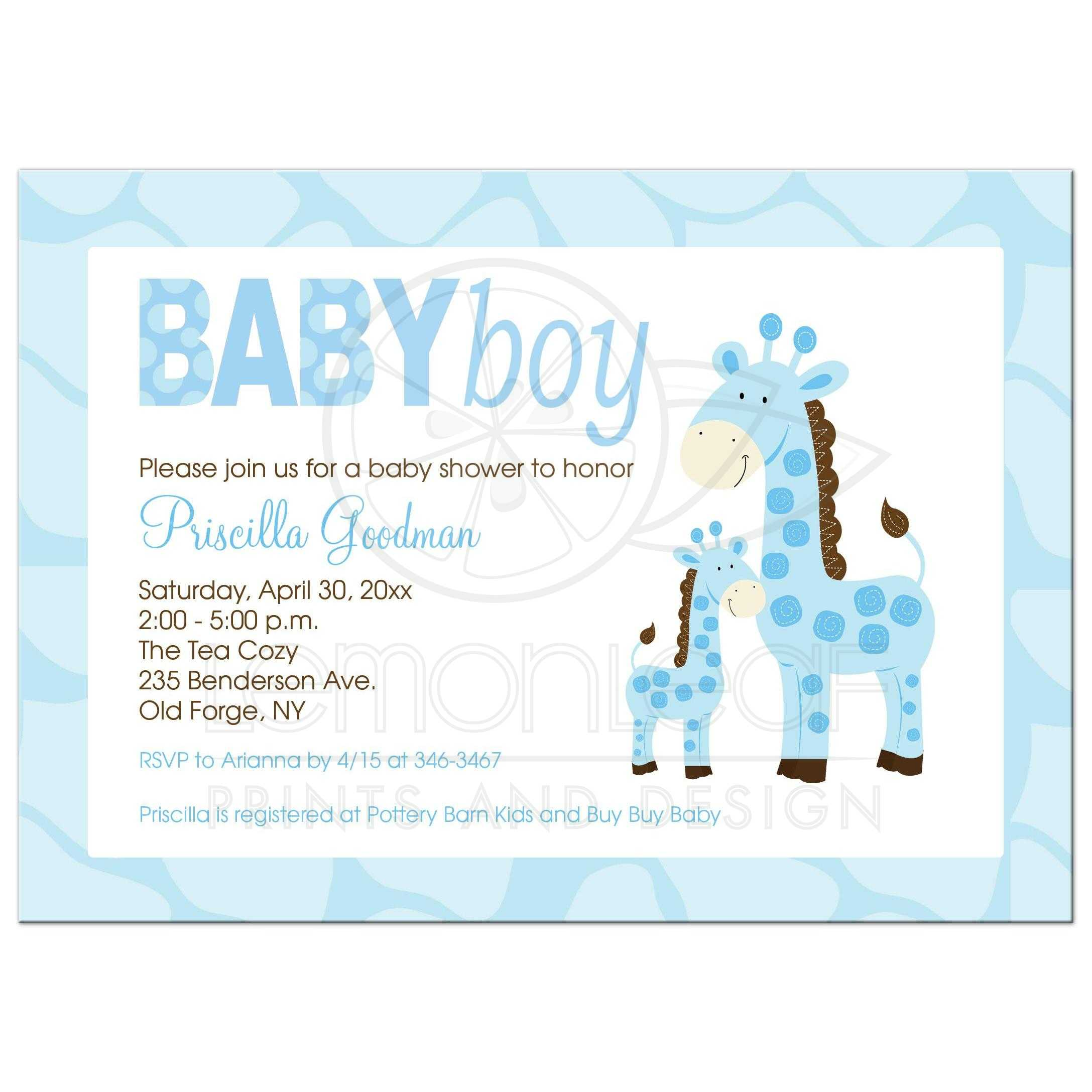 Mommy and Baby Blue Giraffe Boy Baby Shower Invitation