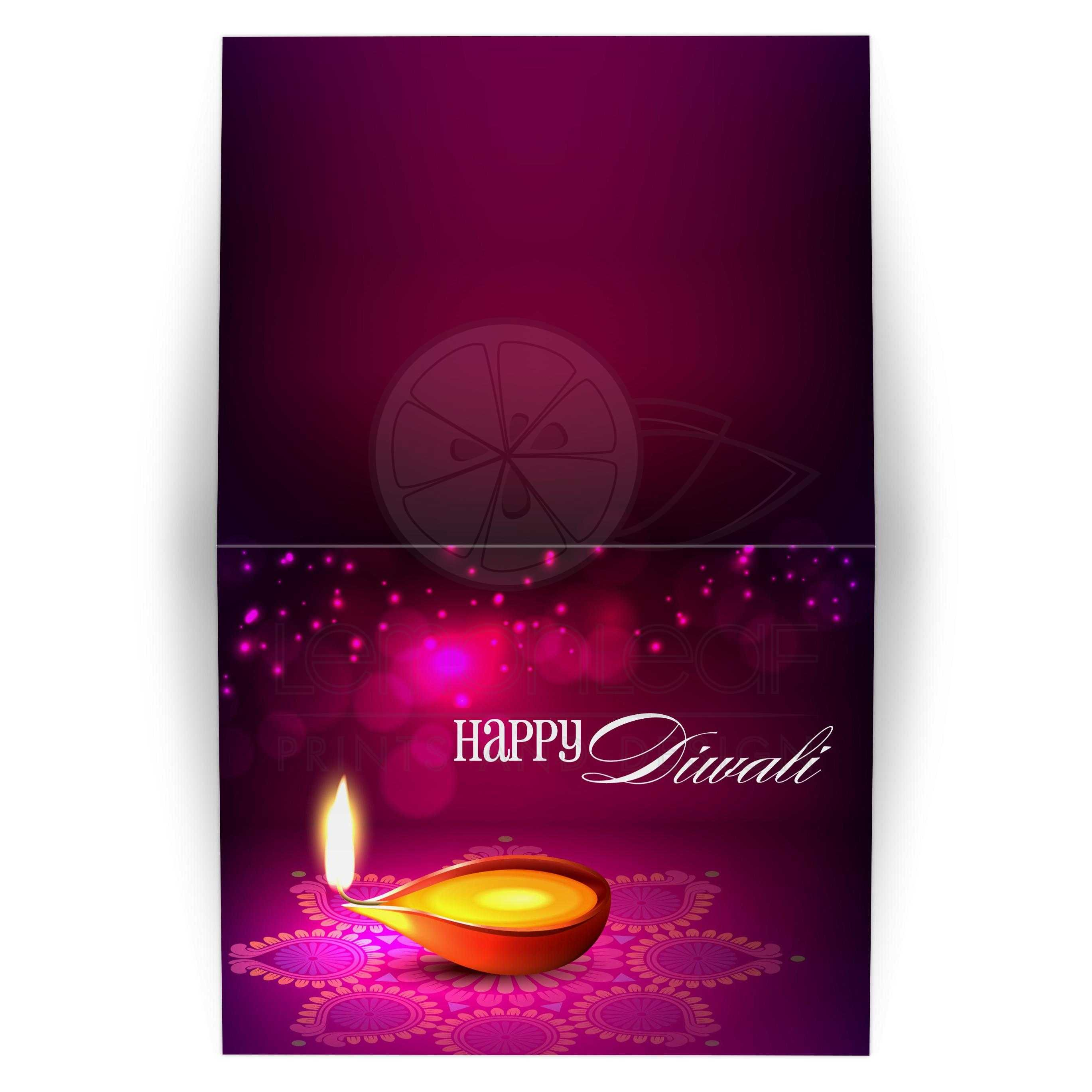 Greeting Card Bokeh Lights Diwali Lamp