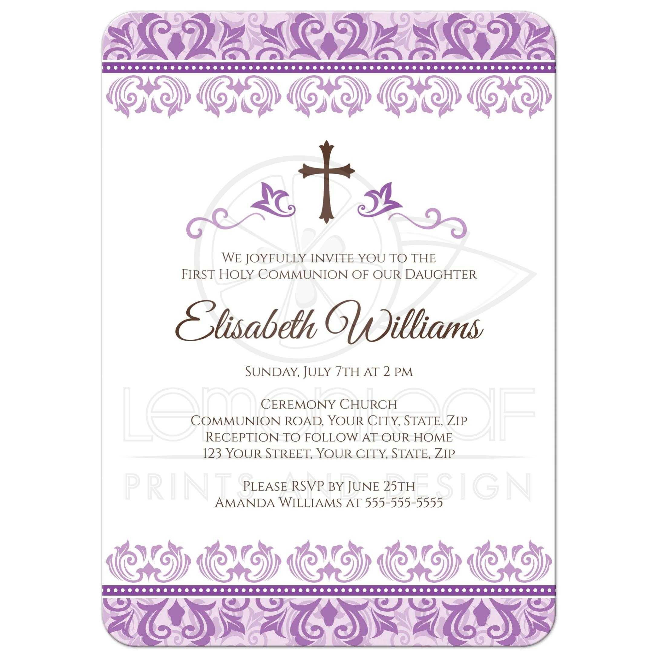 Ornate purple damask First Holy Communion or confirmation invitation