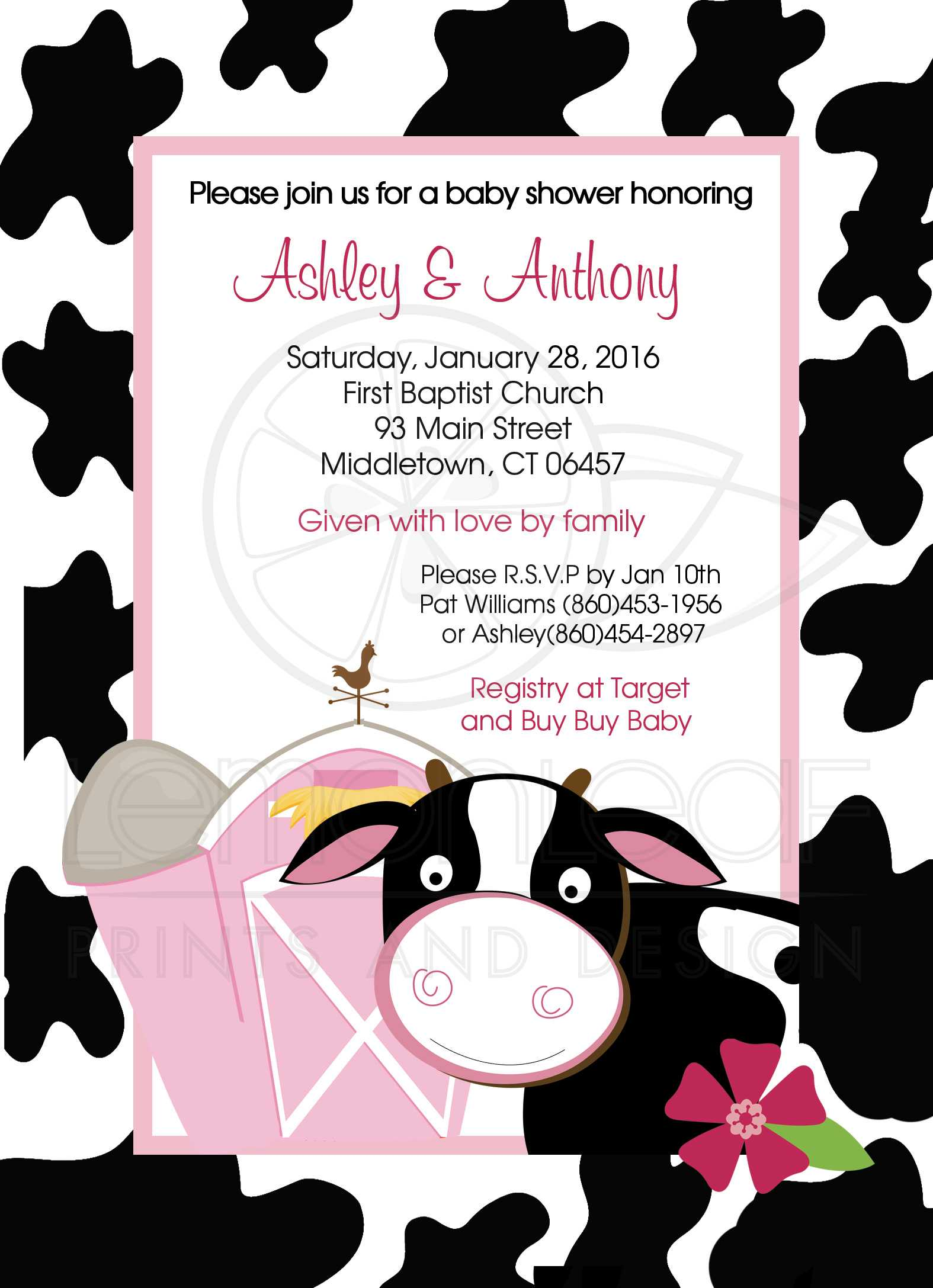 A7 Pink Cow Dairy Farm Girl Baby Shower Invitation