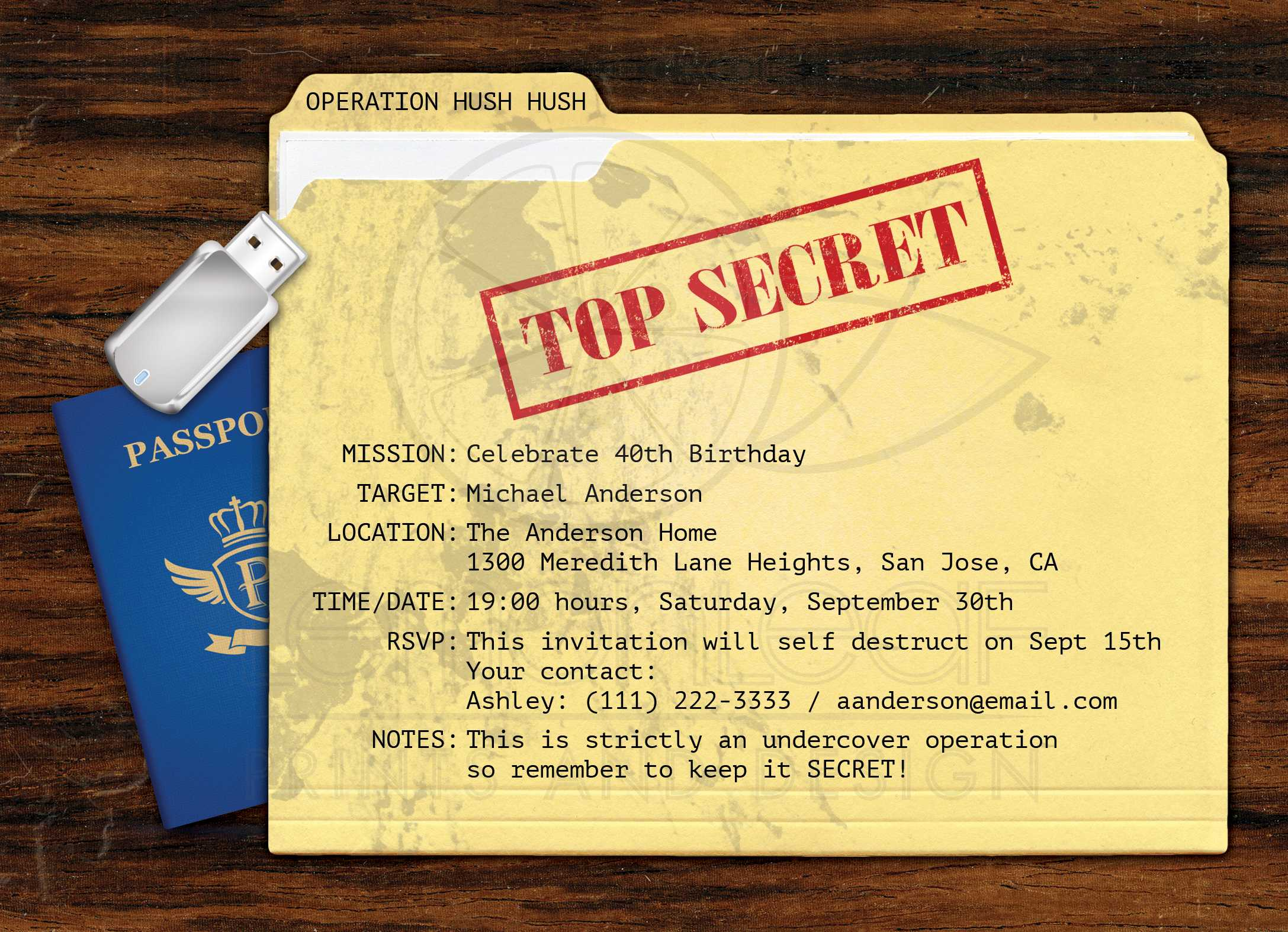Top secret agent surprise birthday party invitation filmwisefo