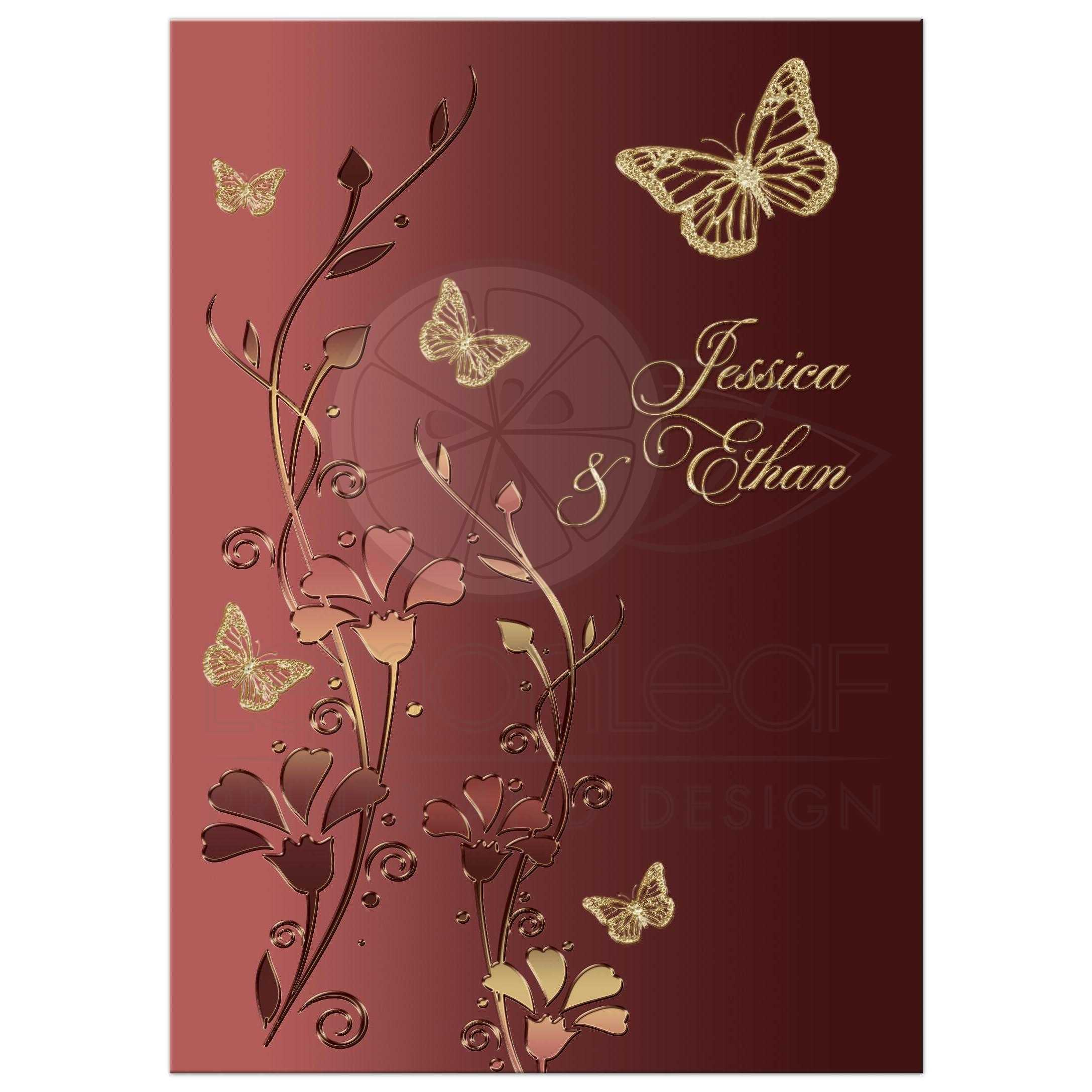 Wedding Invitation | Marsala and Gold | Flowers and Butterflies