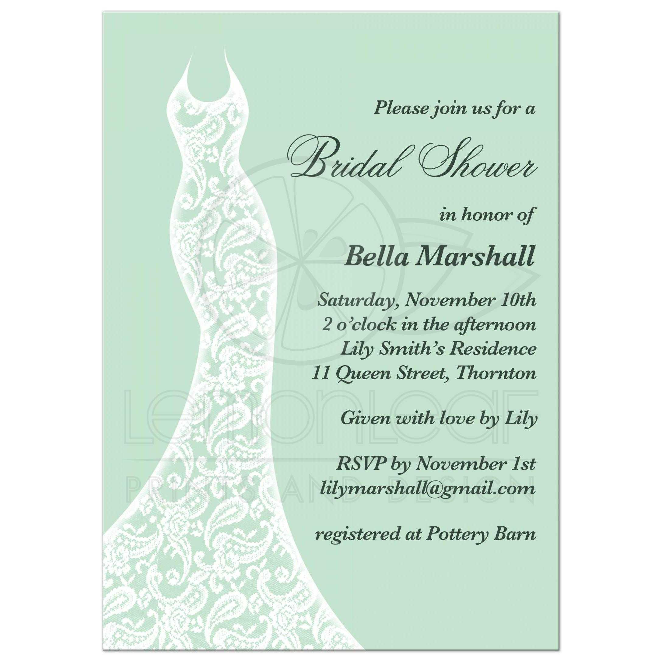 mint bridal shower invitation