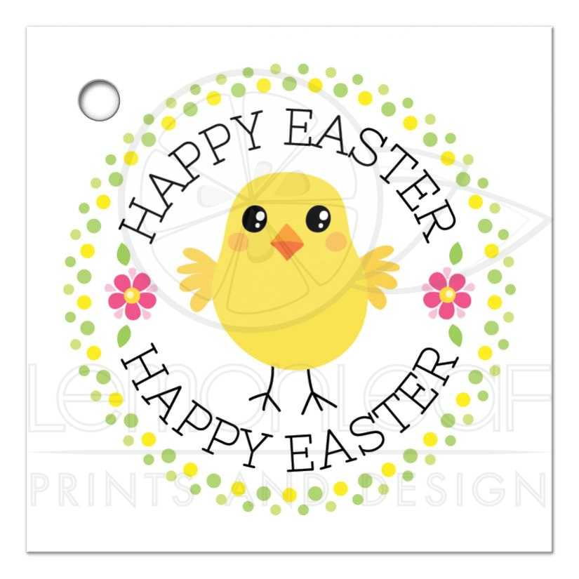 Cute chicken happy easter gift or favor tag with polka dot border cute chicken with pink flowers and polka for border happy easter gift or favor tag negle Choice Image