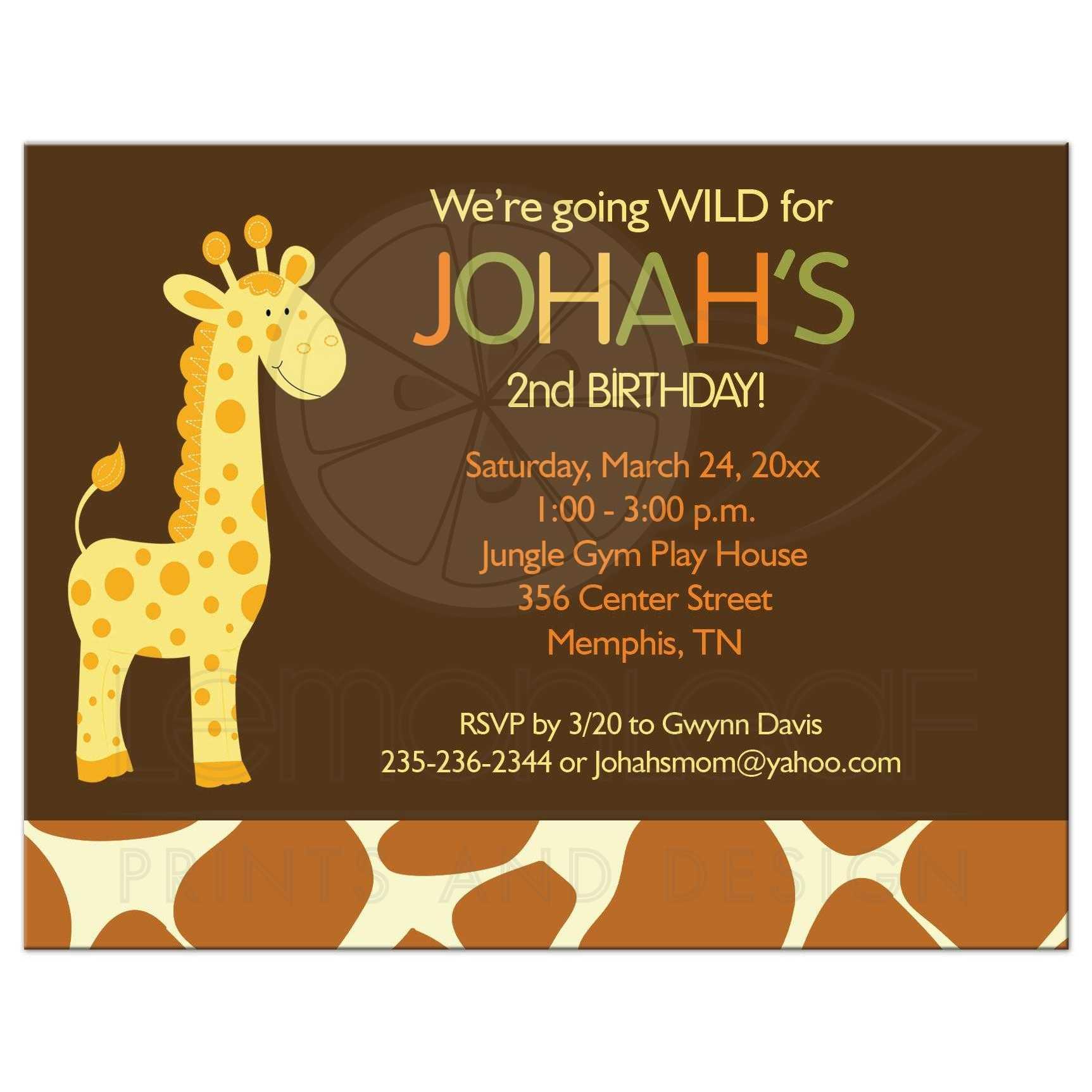 Yellow And Brown Giraffe Birthday Invitation