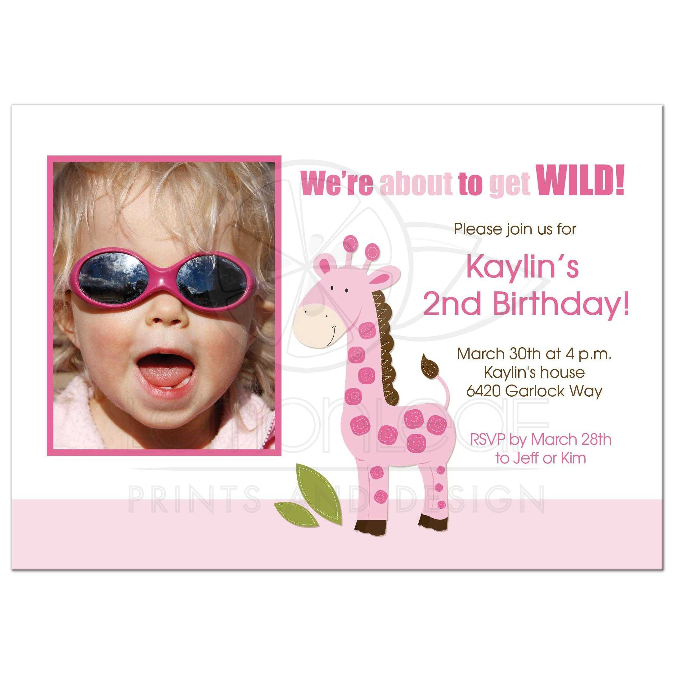 Pink Giraffe Girl Photo Birthday Invitation