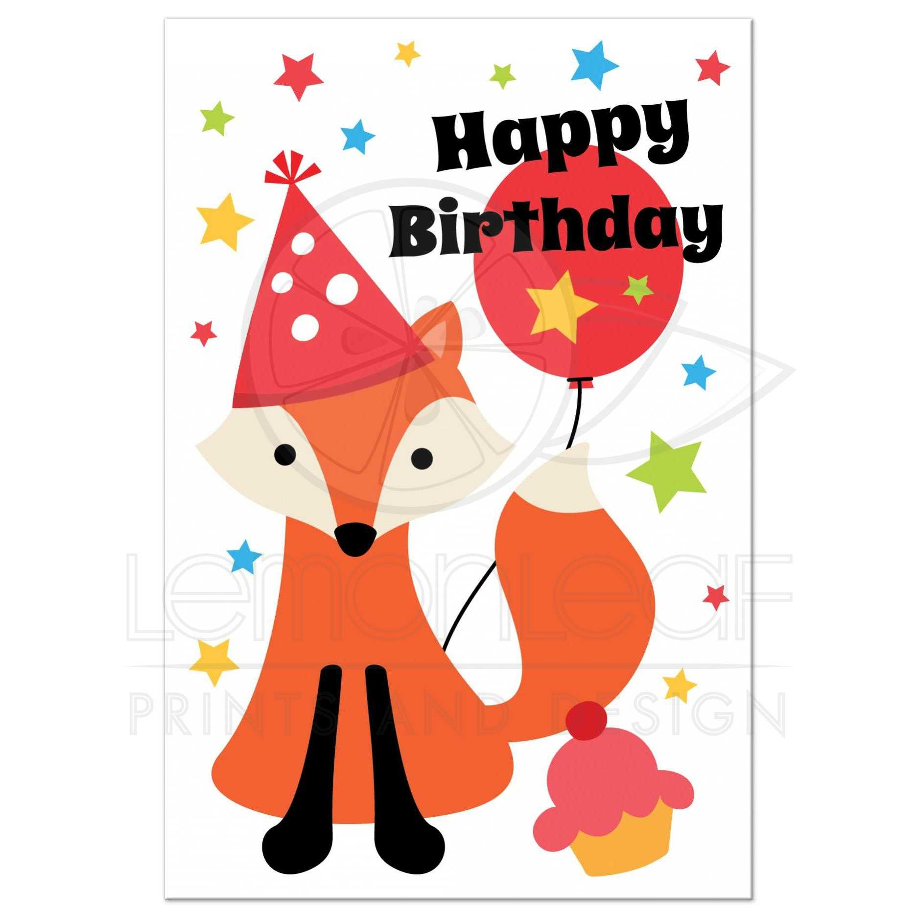 Cute fox with party hat cupcake and stars happy birthday postcard cute happy birthday postcard with cute cartoon fox balloon and colorful stars bookmarktalkfo Image collections