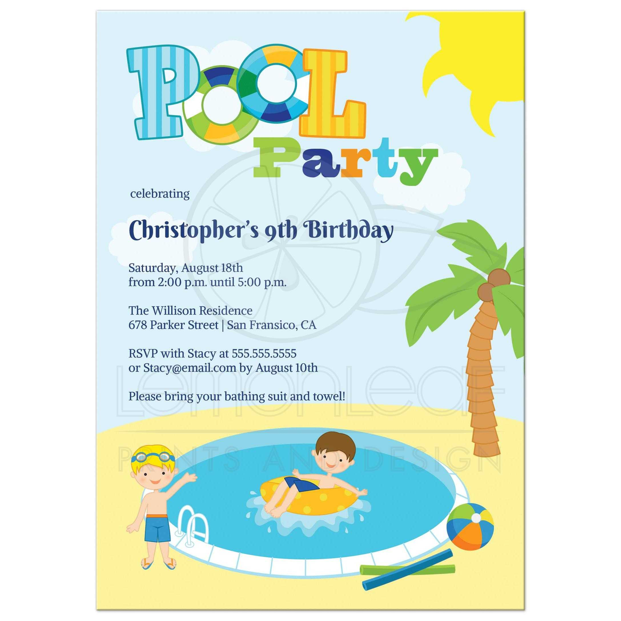 Boys Pool Birthday Party Invites