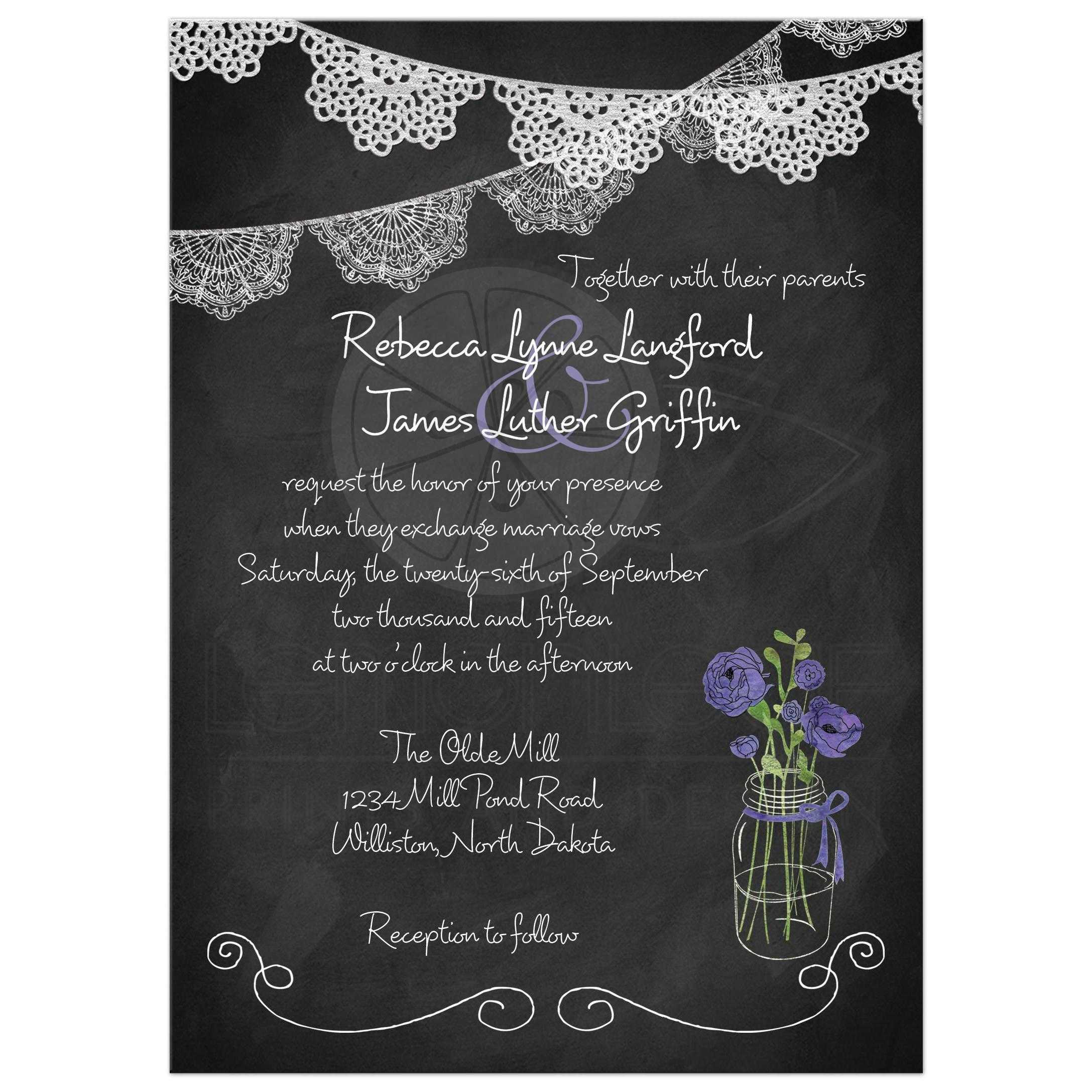 Mason Jar Wedding Invitation Chalkboard Lace Bunting Watercolor Purple