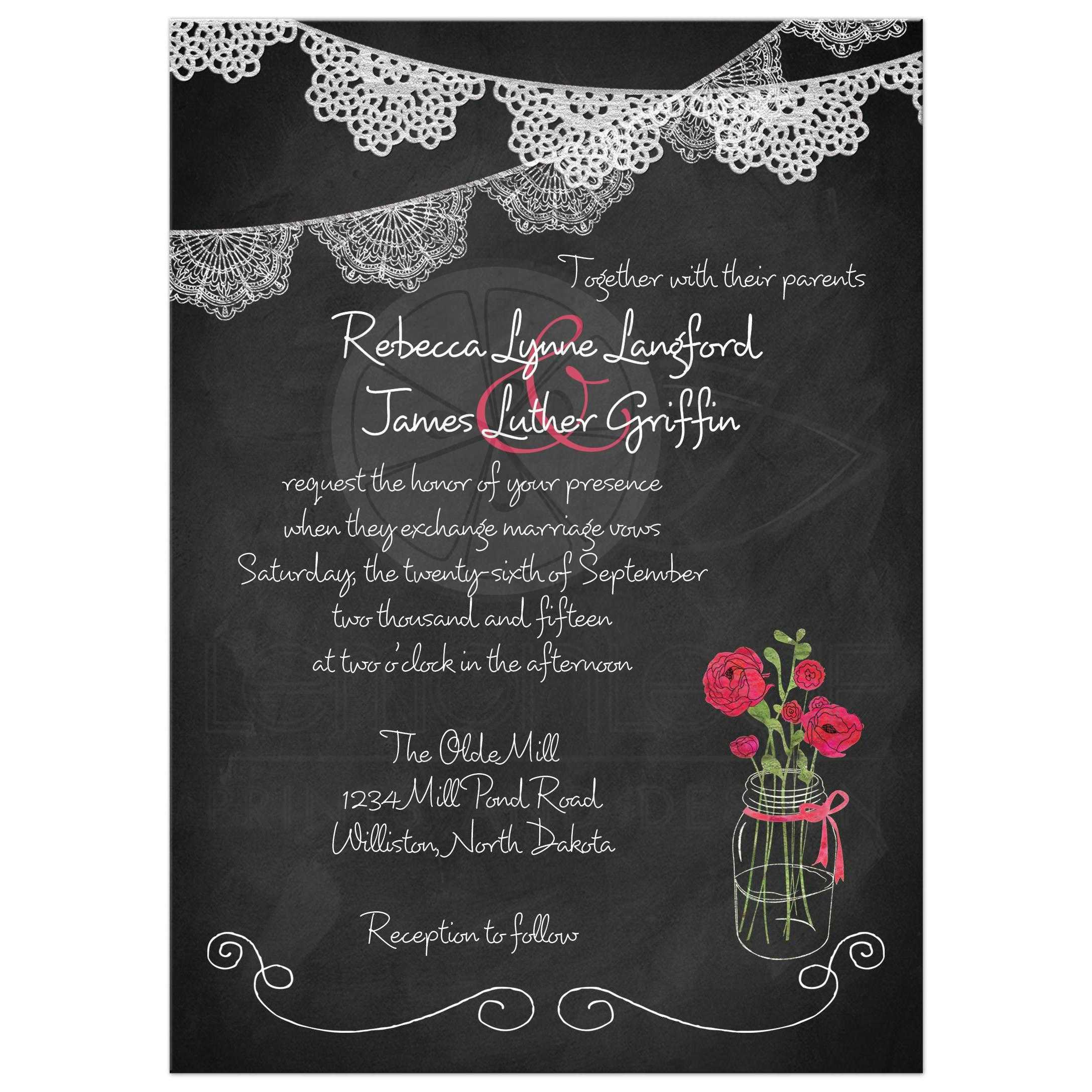 Mason Jar Wedding Invitation Chalkboard Lace Bunting