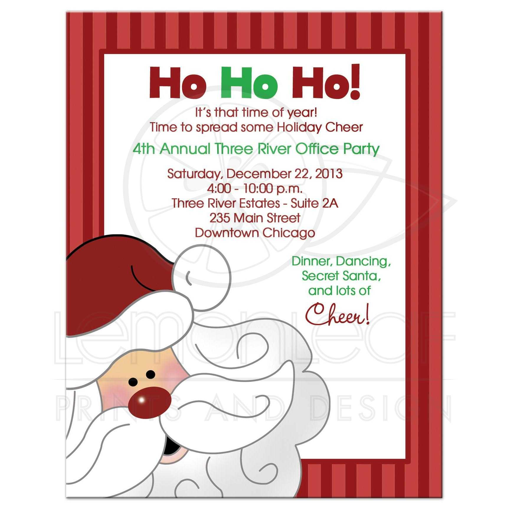 Santa Claus Christmas Office Party Invitation