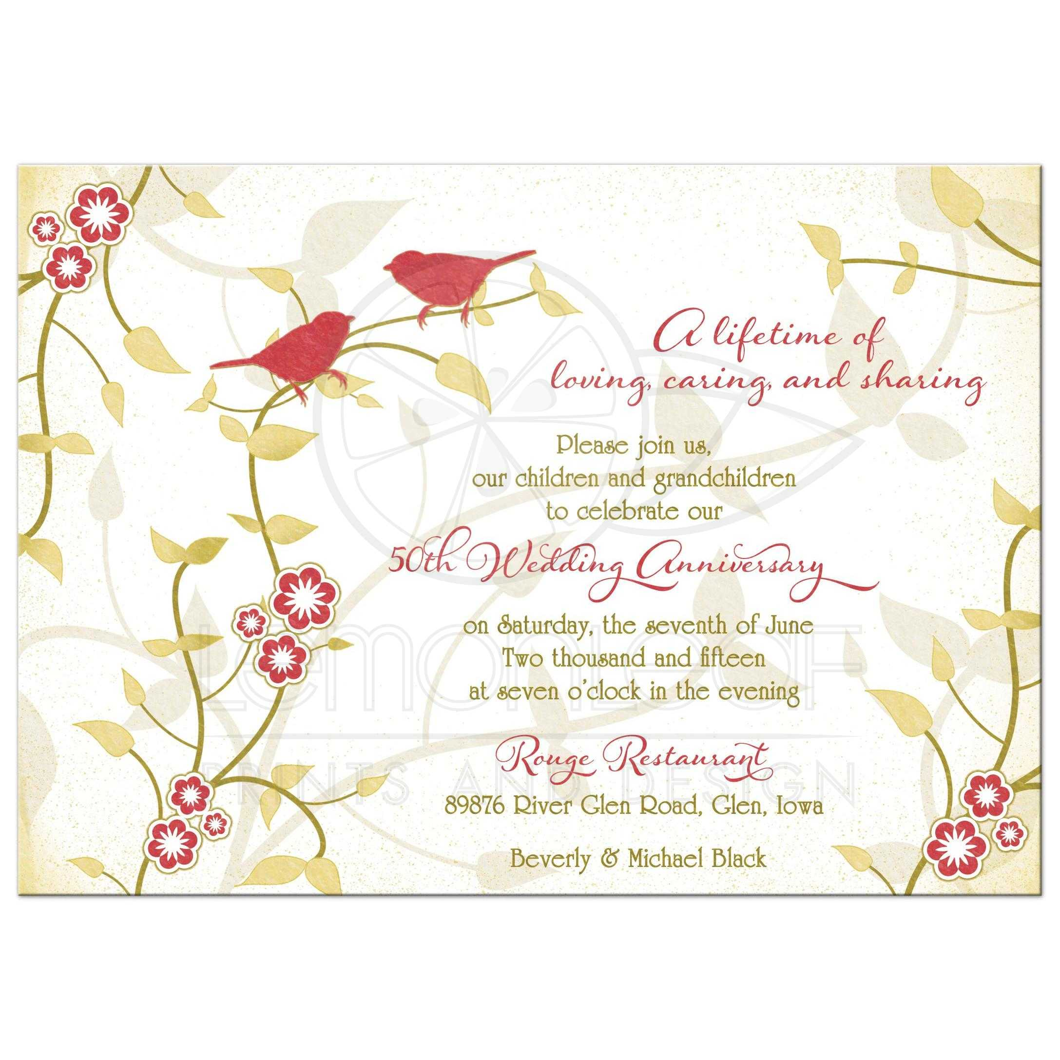 Red And Gold Birds Flowers Leaves Nature Inspired Golden 50th Wedding Anniversary Invitation Front
