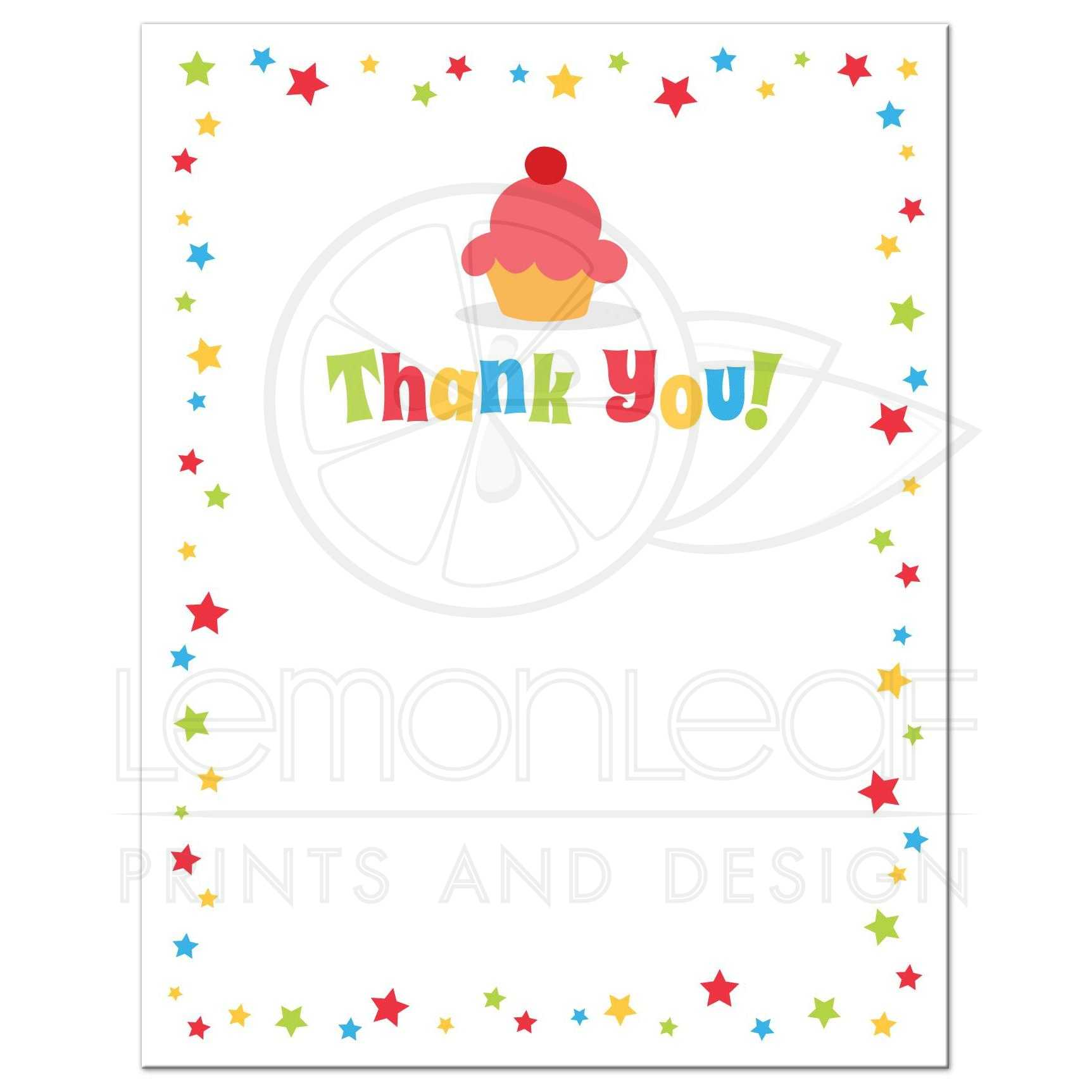 Cupcake and colorful stars flat birthday party thank you card for kids fun thank you note card with colorful confetti star border and cute cupcake bookmarktalkfo Gallery