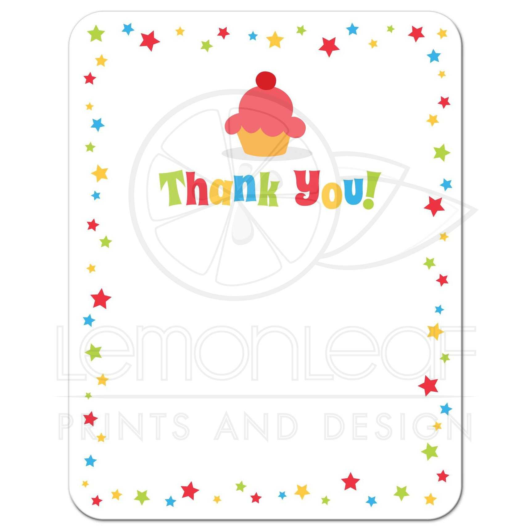 Cupcake and colorful stars flat birthday party thank you card for kids