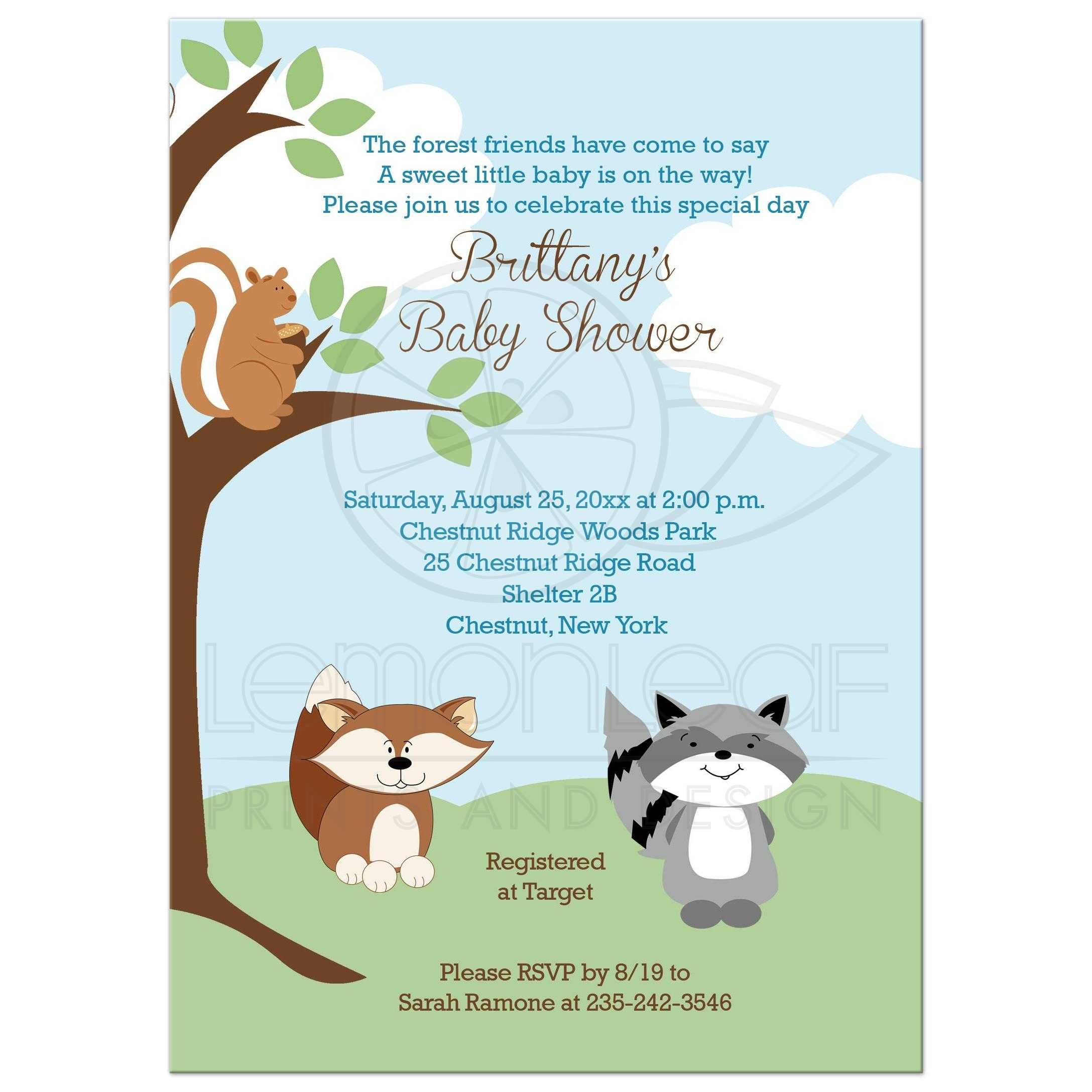 Enchanted Forest Animals Woodland Baby Shower Invitation