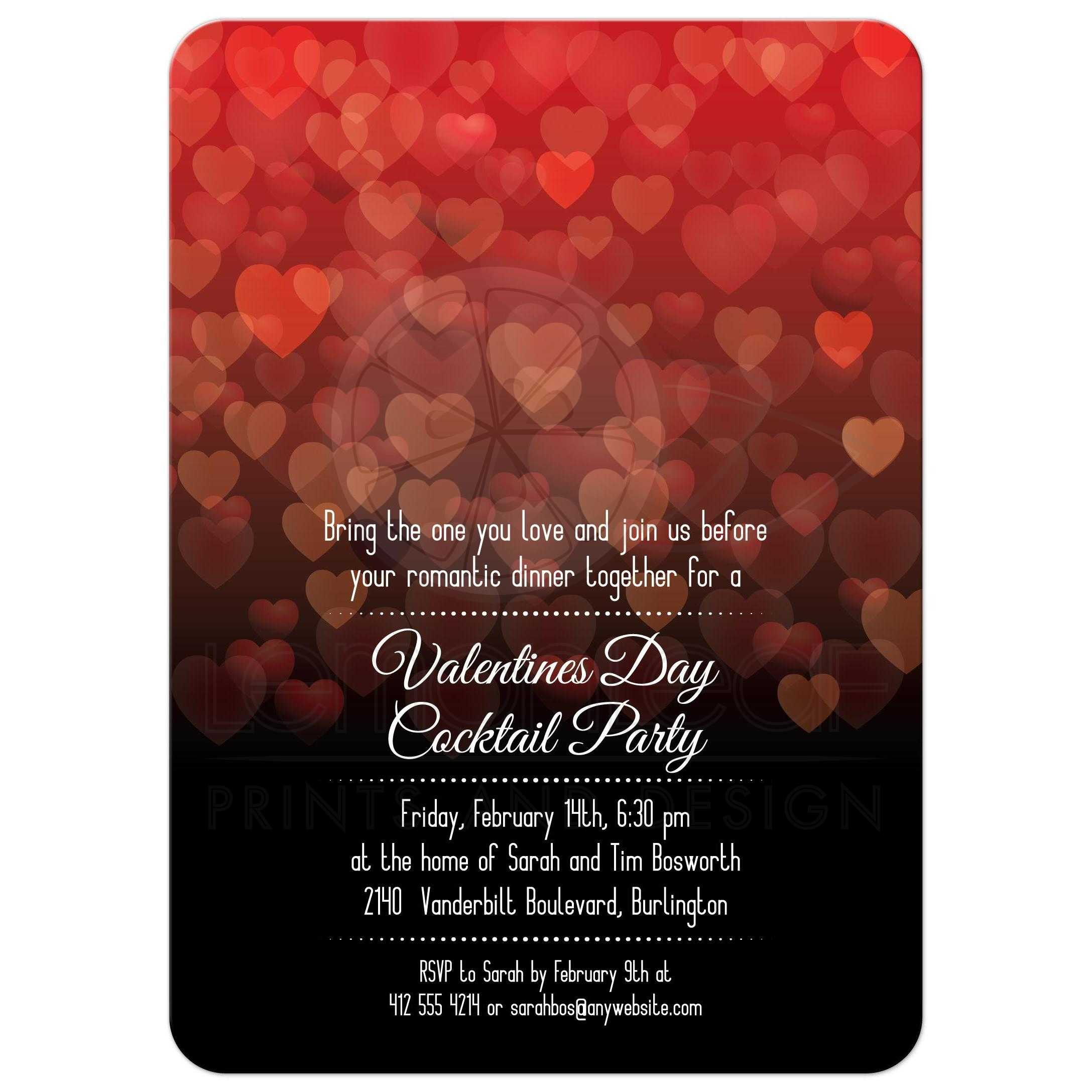 Party Invitation - Bokeh Hearts Valentines Day