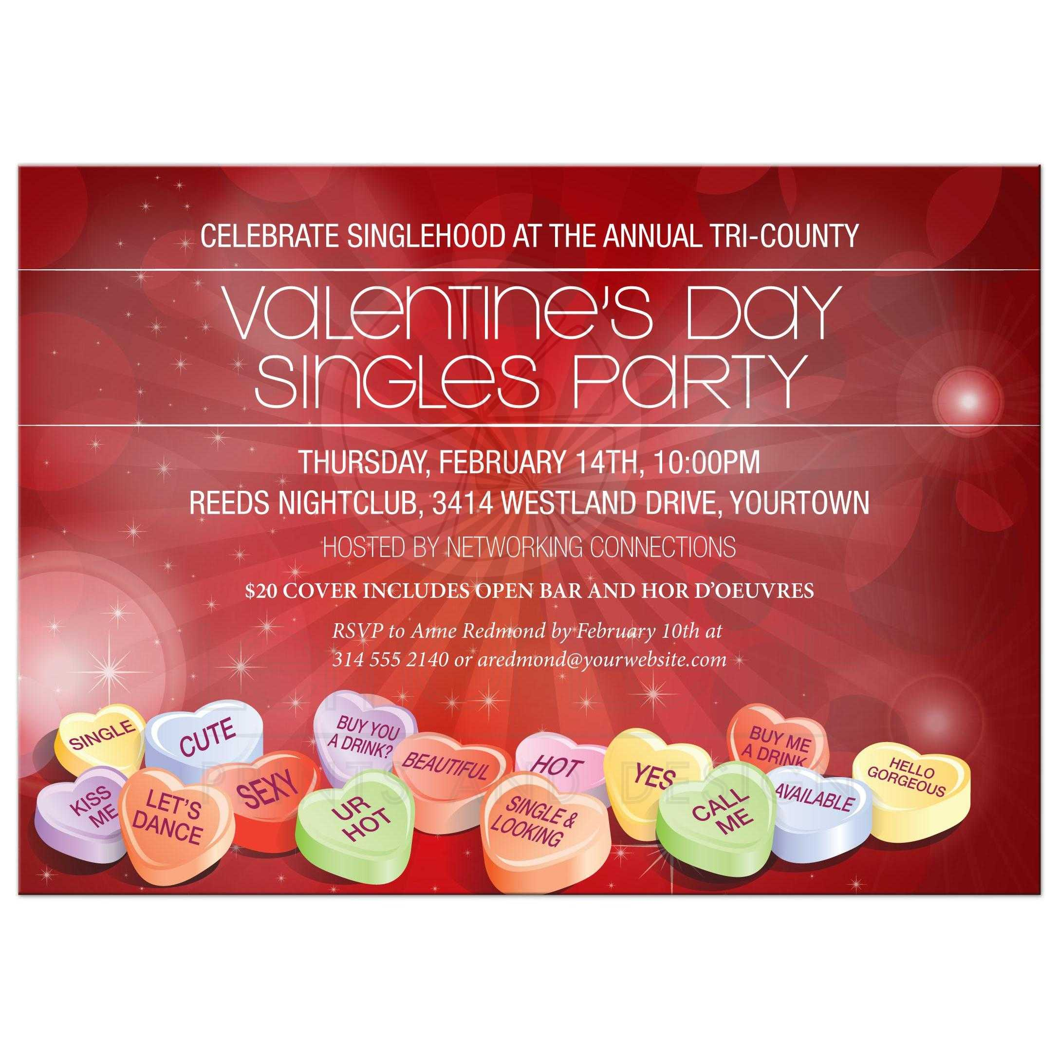 Party Invitation Valentines Day Candy Hearts Singles Event