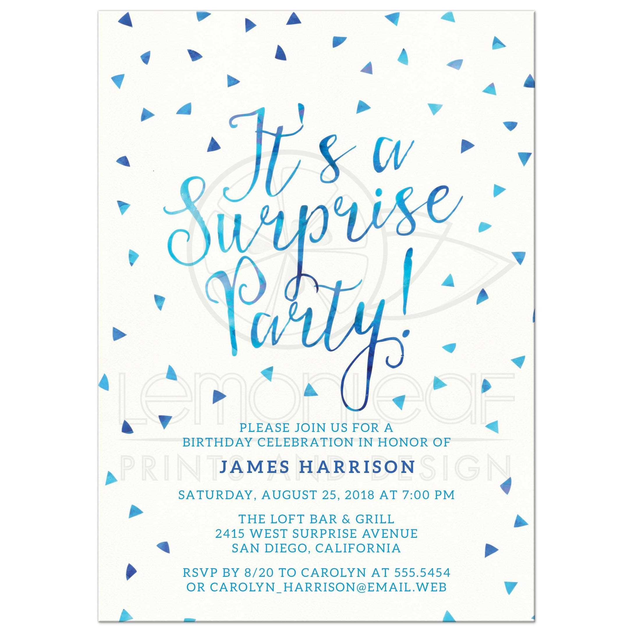 Surprise Birthday Party Invitations Blue Watercolor Triangle Confetti