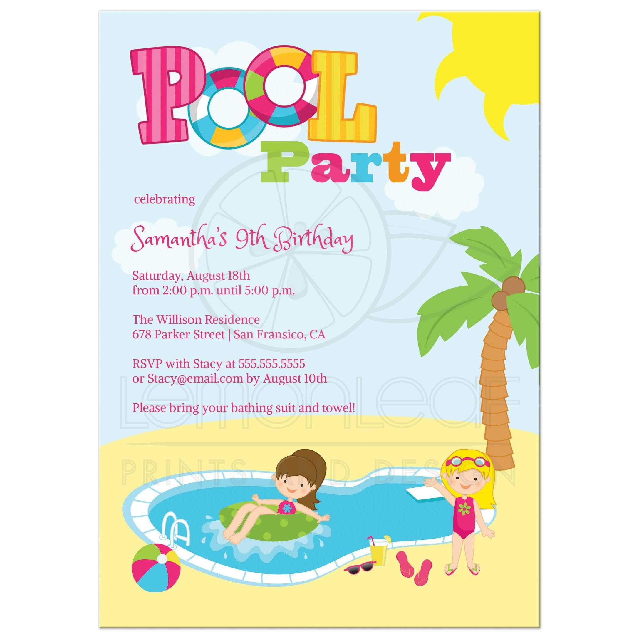 Girls Pool Birthday Party Invites