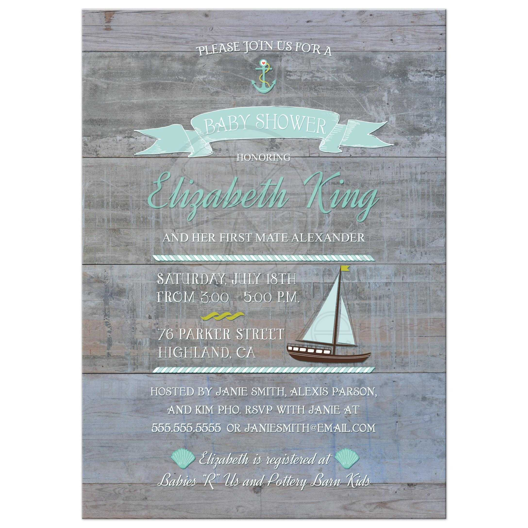 Baby Shower Invitation Rustic Nautical Typography