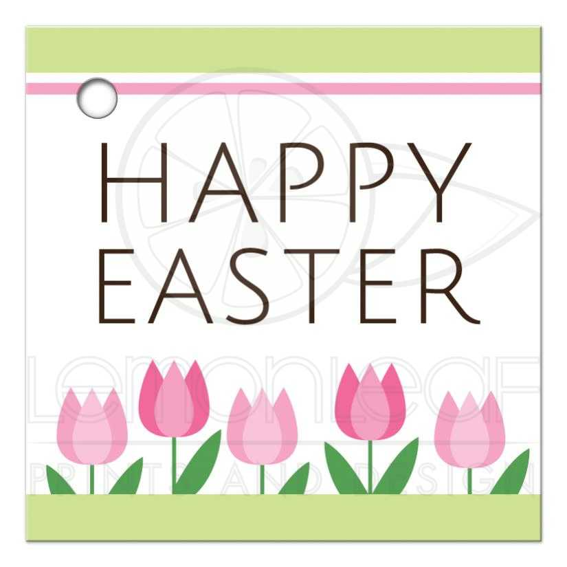 Pink spring tulip border happy easter gift or favor tag cute spring tulips happy easter gift or favor tag negle