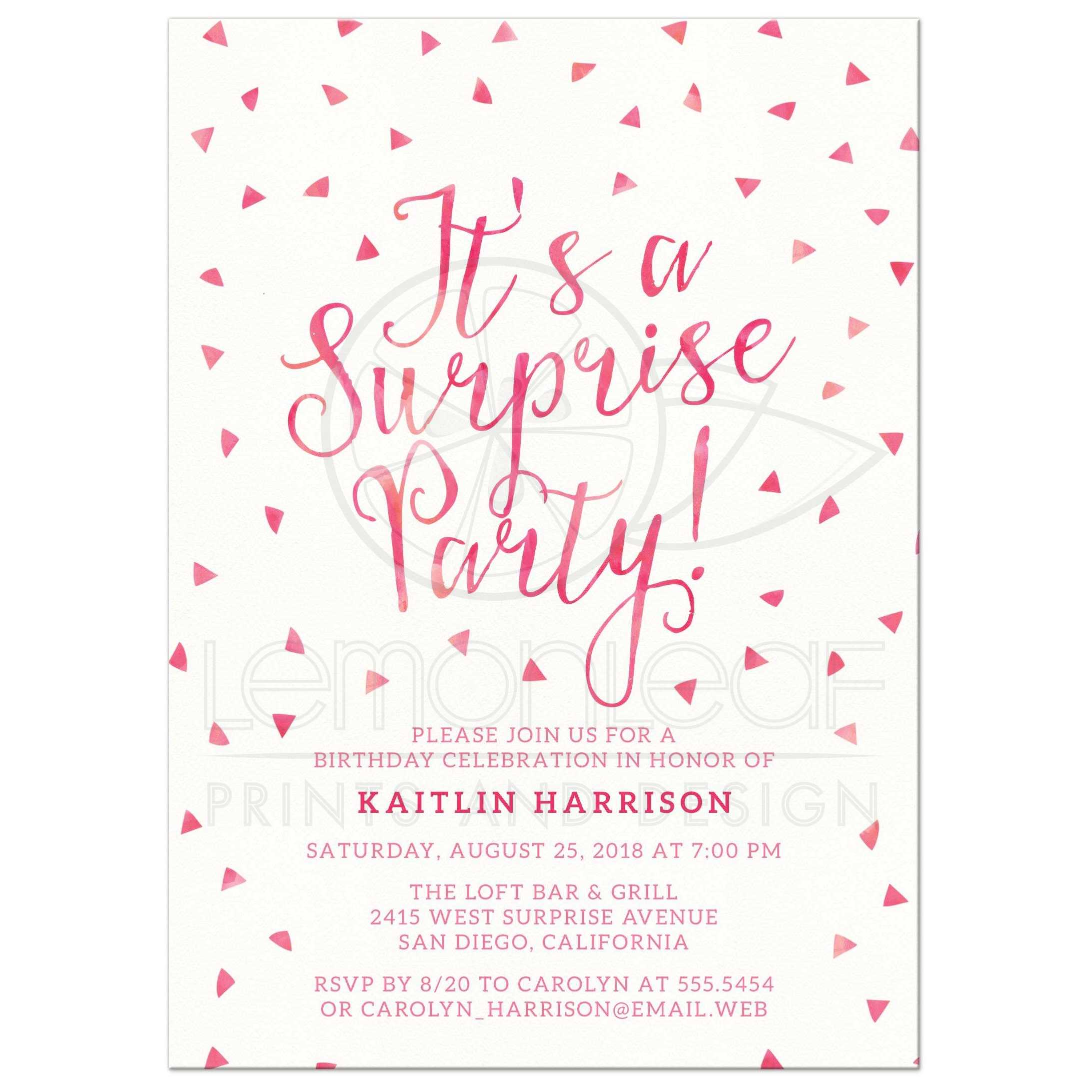 Surprise Birthday Party Invitations Pink Watercolor Triangle – Surprise Birthday Party Invites