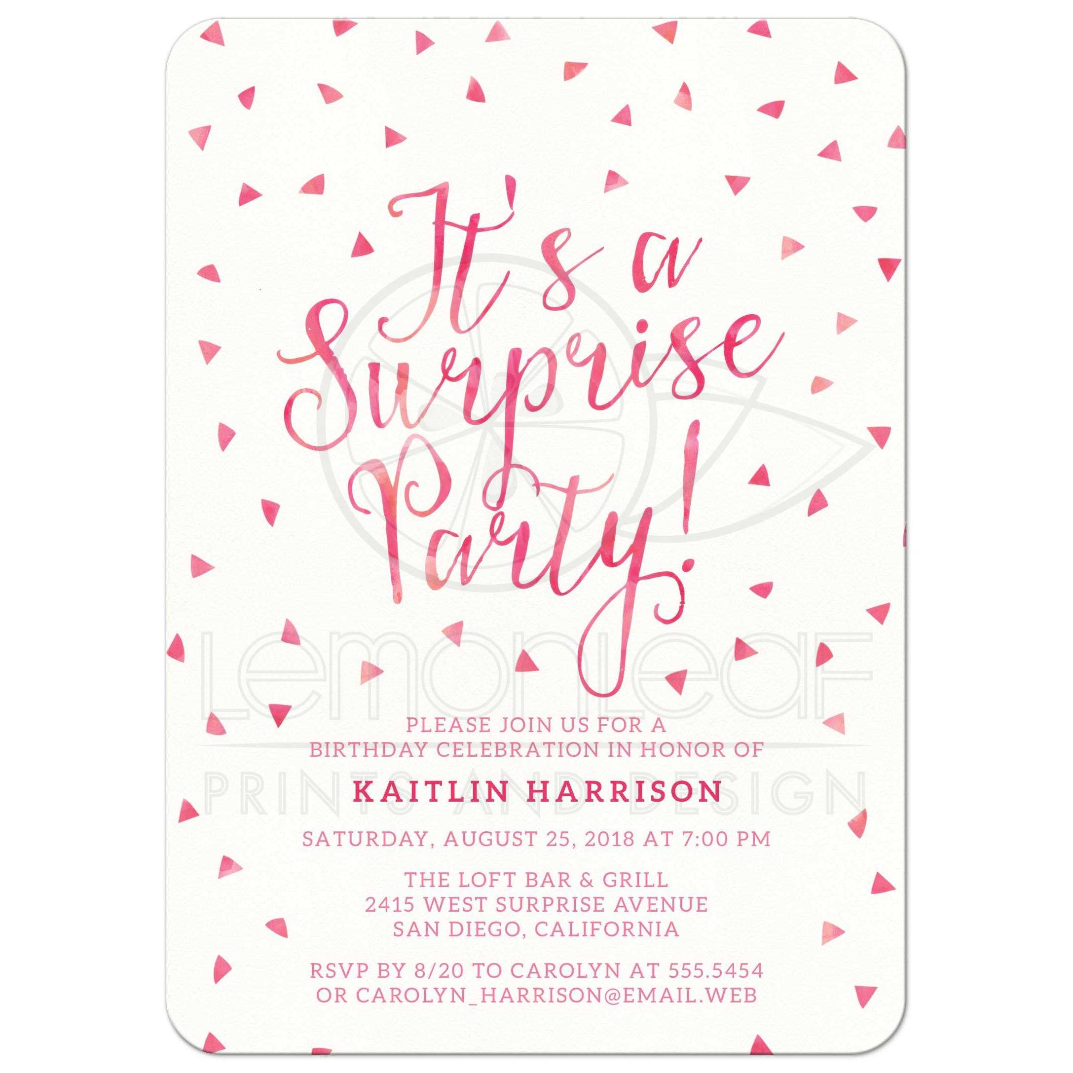 Surprise Birthday Party Invitations Pink Watercolor Triangle Confetti
