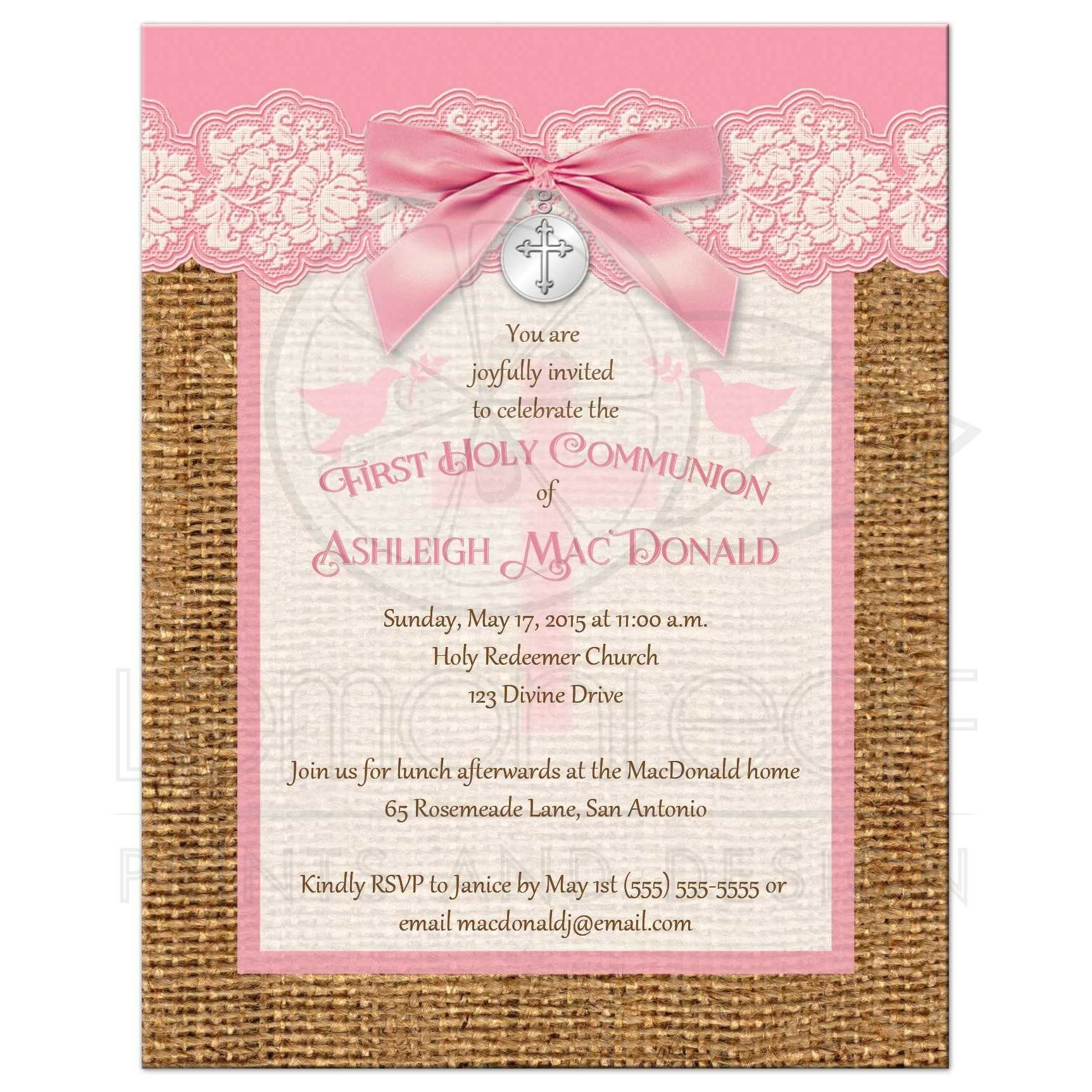 First Holy Communion Invitation Pink And Ivory Lace Faux Burlap