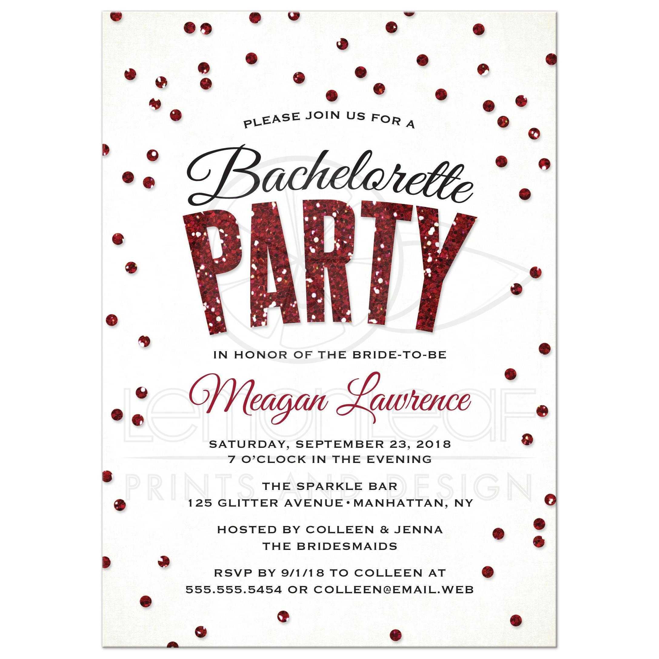 Bachelorette Party Invitations Red Glitter Look Confetti