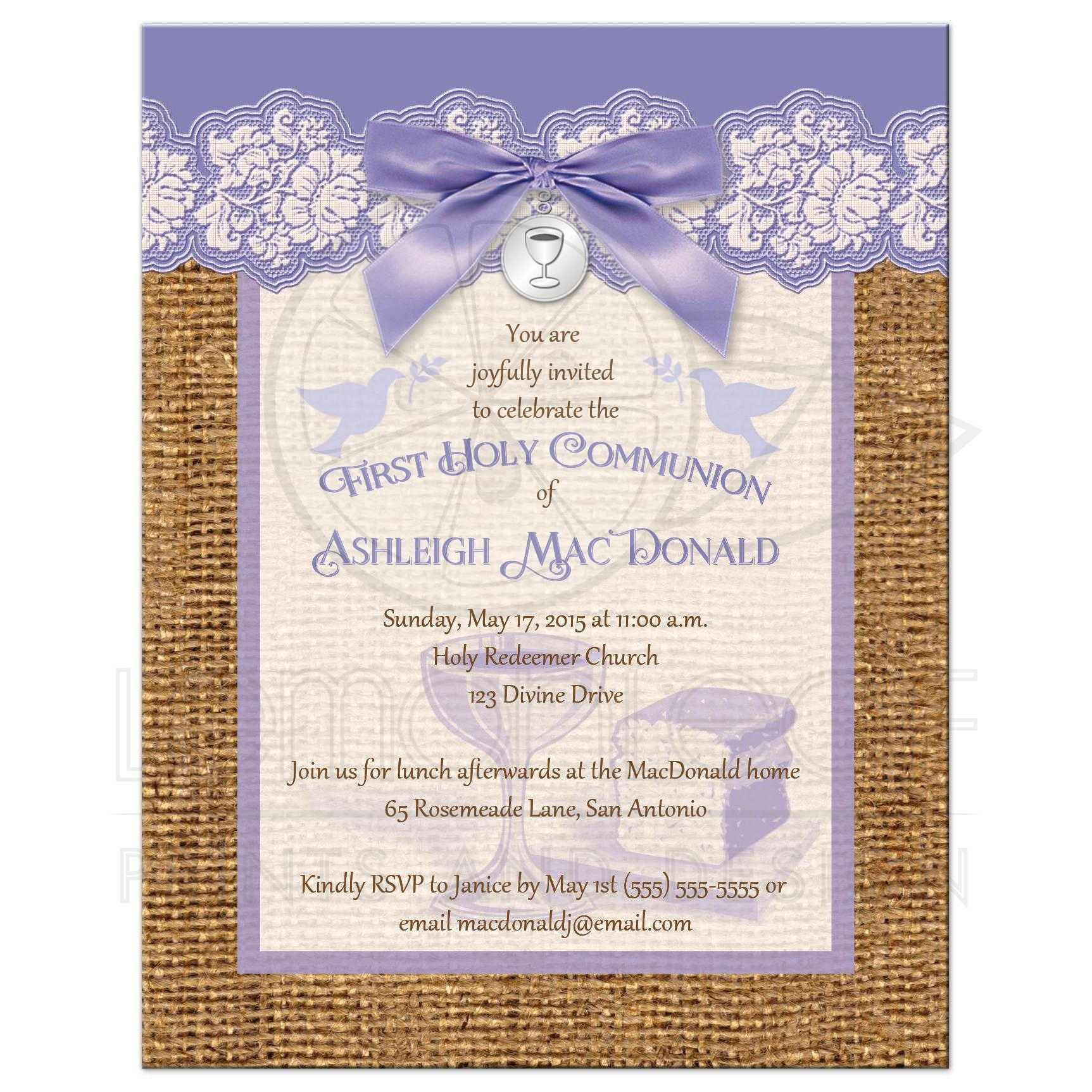 First Holy Communion Invitation Purple And Ivory Lace Faux Burlap