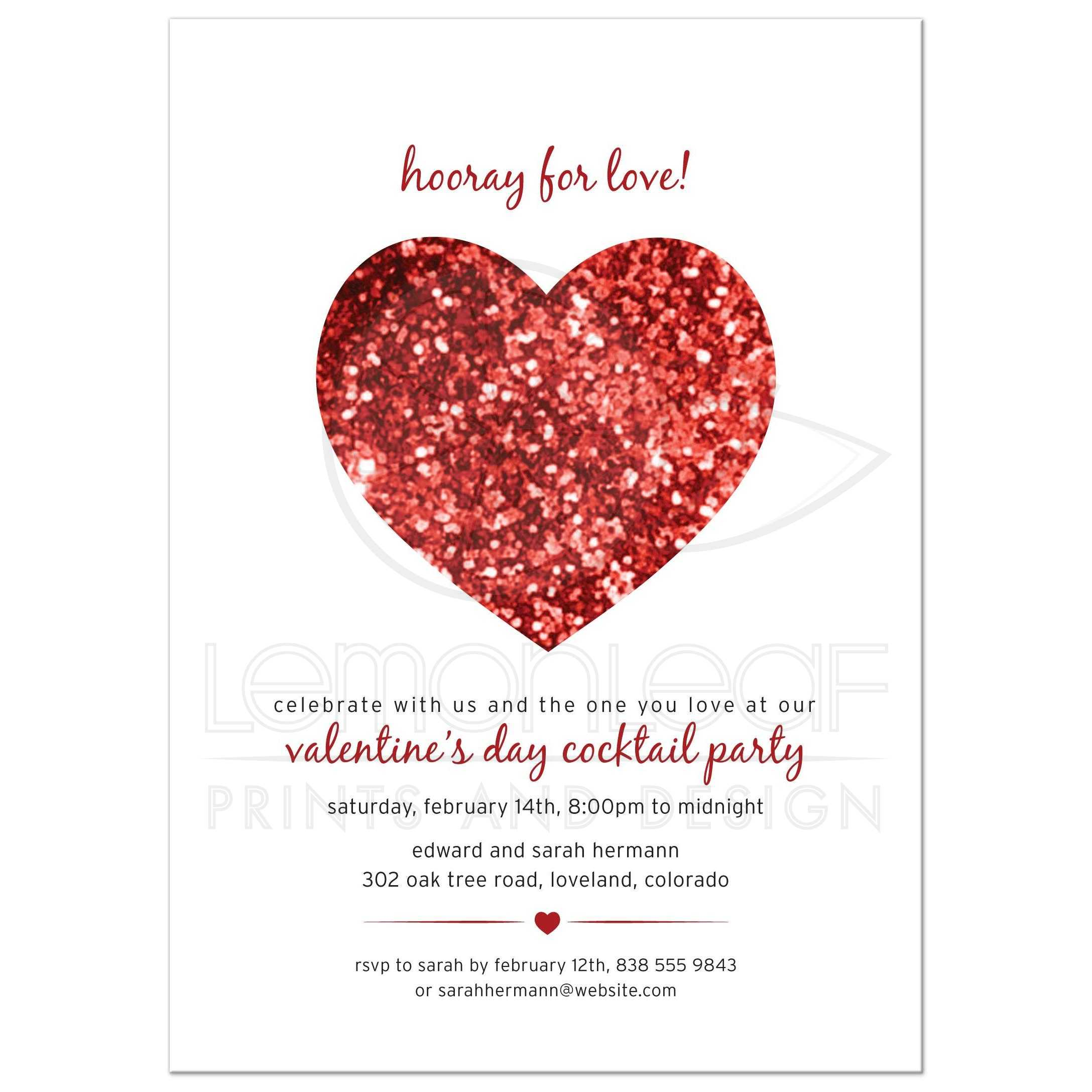 Party Invitation - Red Faux Glitter Look Heart Valentine\'s Day