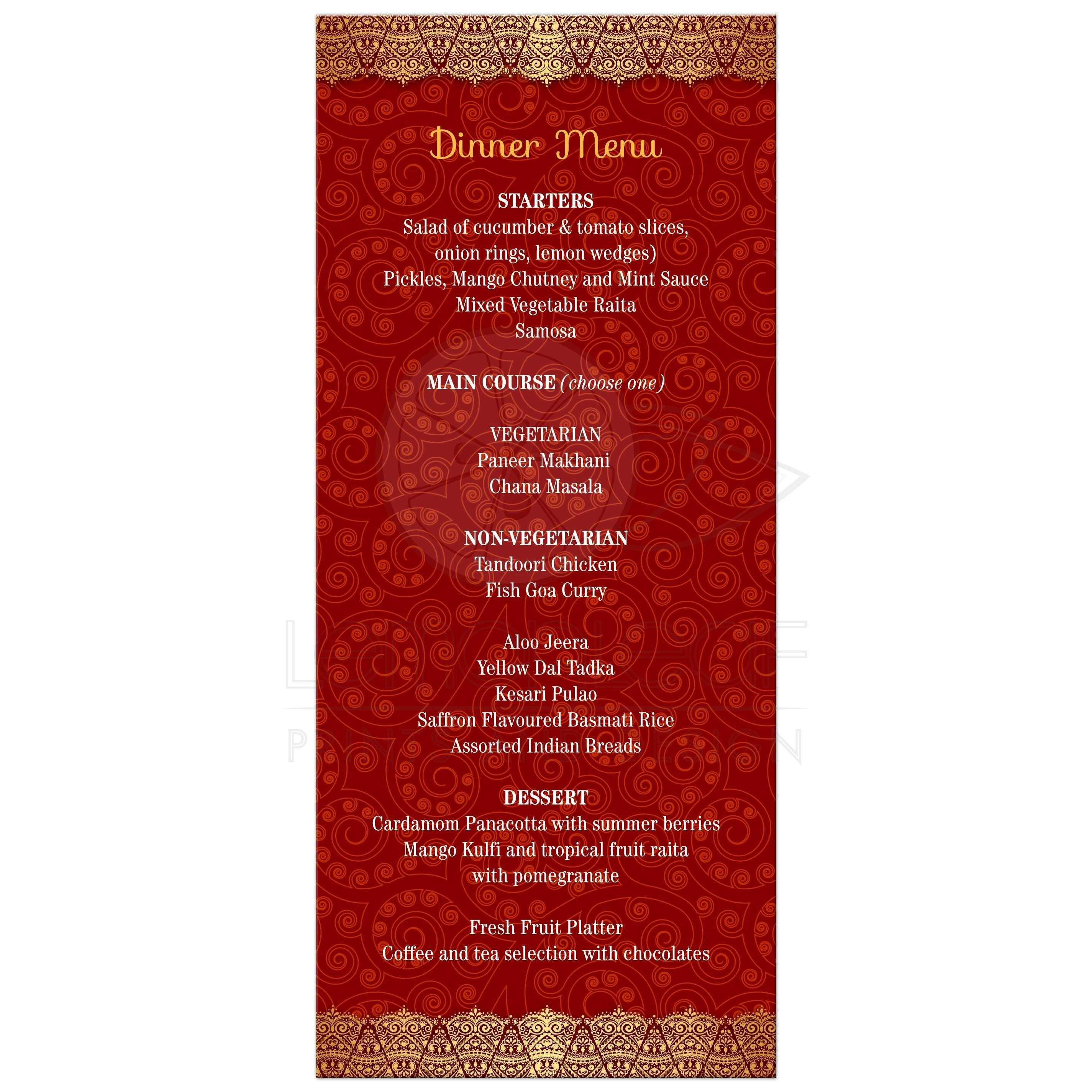 Mehndi Sangeet Party Food Menu : Wedding menu card crimson indian paisley golden gilded edge