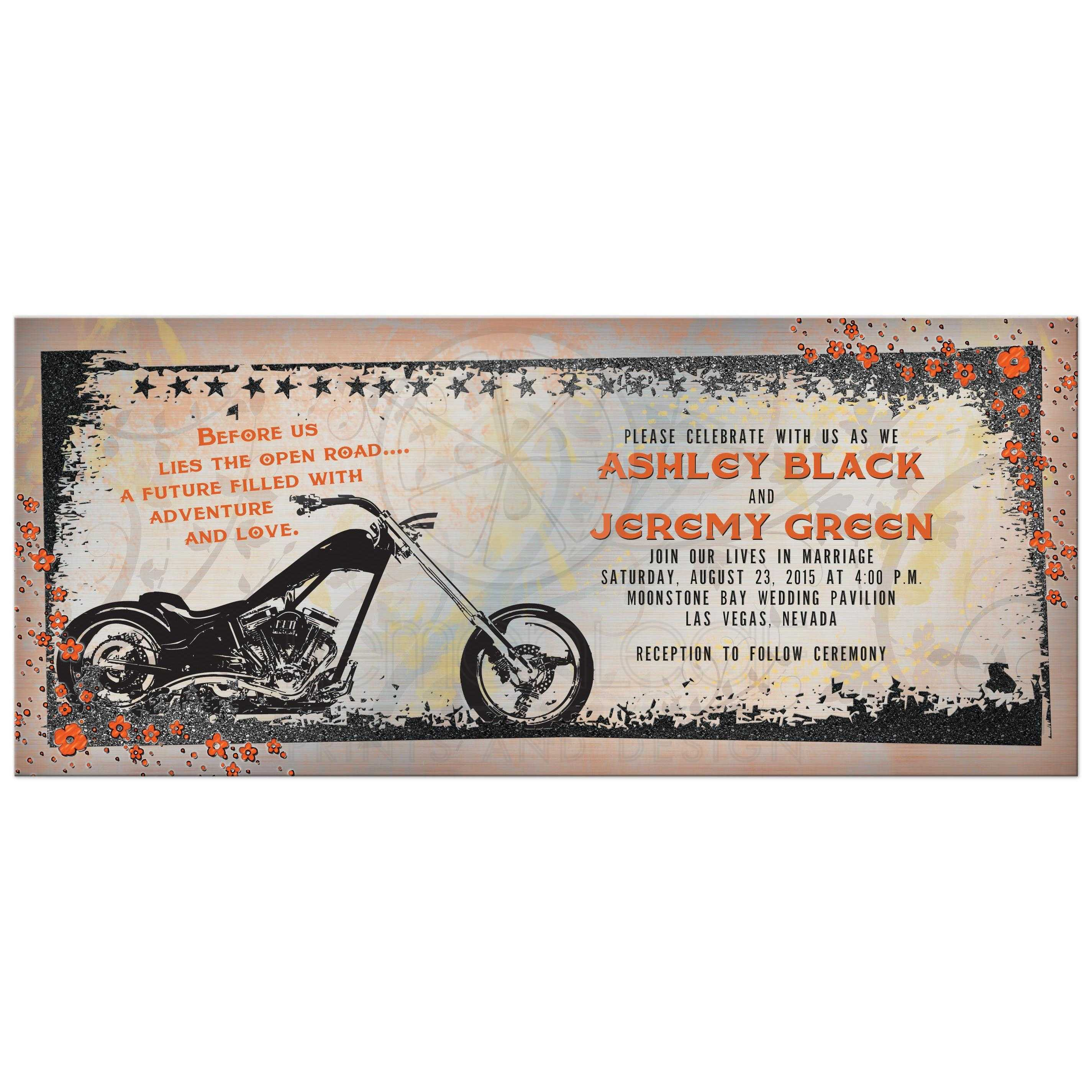 Motorcycle Or Biker Wedding Invitation Front