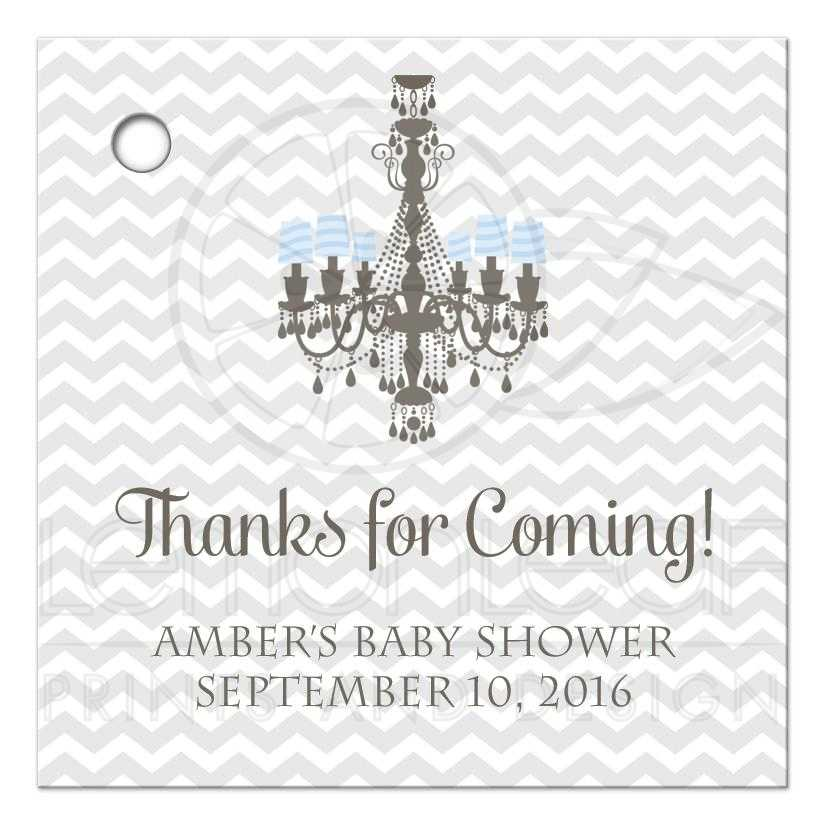 Thanks For Coming Favor Tags Chandelier Baby Shower
