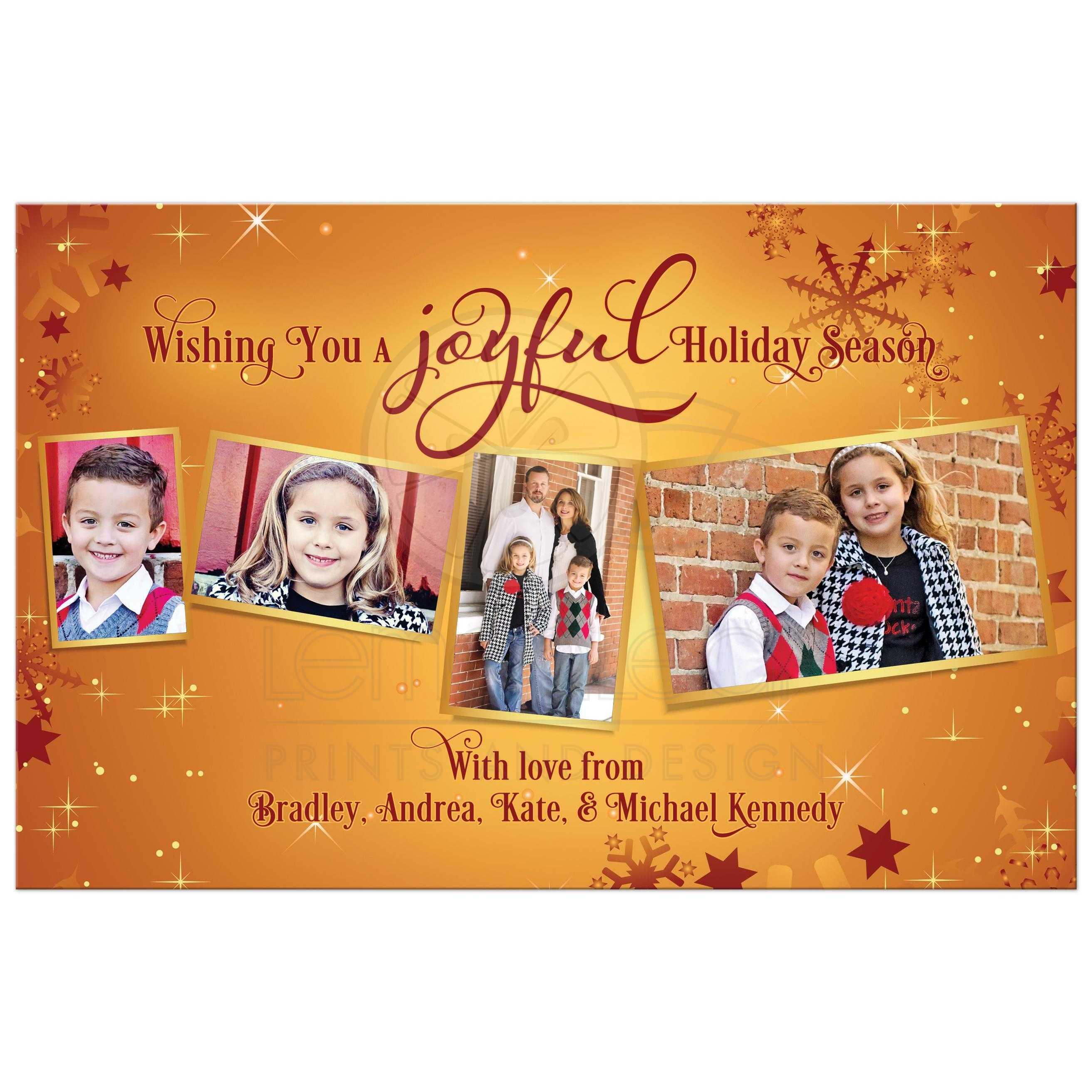 Family Christmas Photo Card Bronze Burgundy Snowflakes