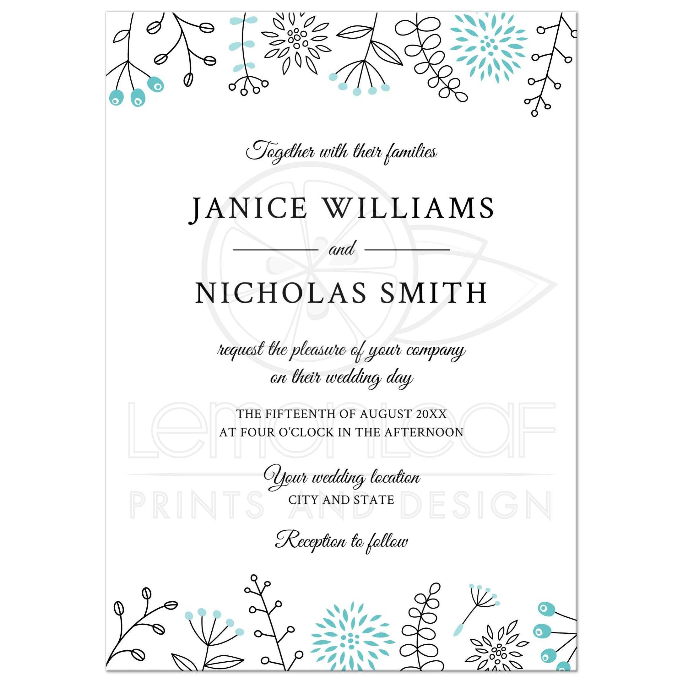 Modern Wedding Invitation With Nature And Flower Doodle Border
