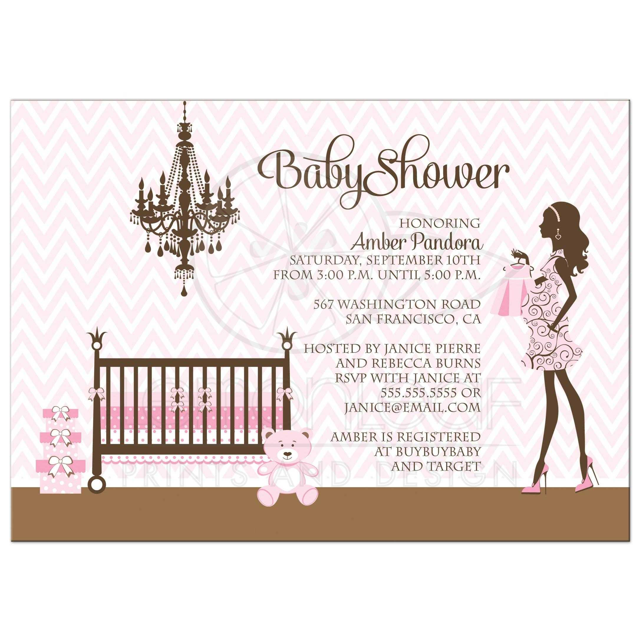 Baby Shower Invitation Girl Pink And Brown Nursery