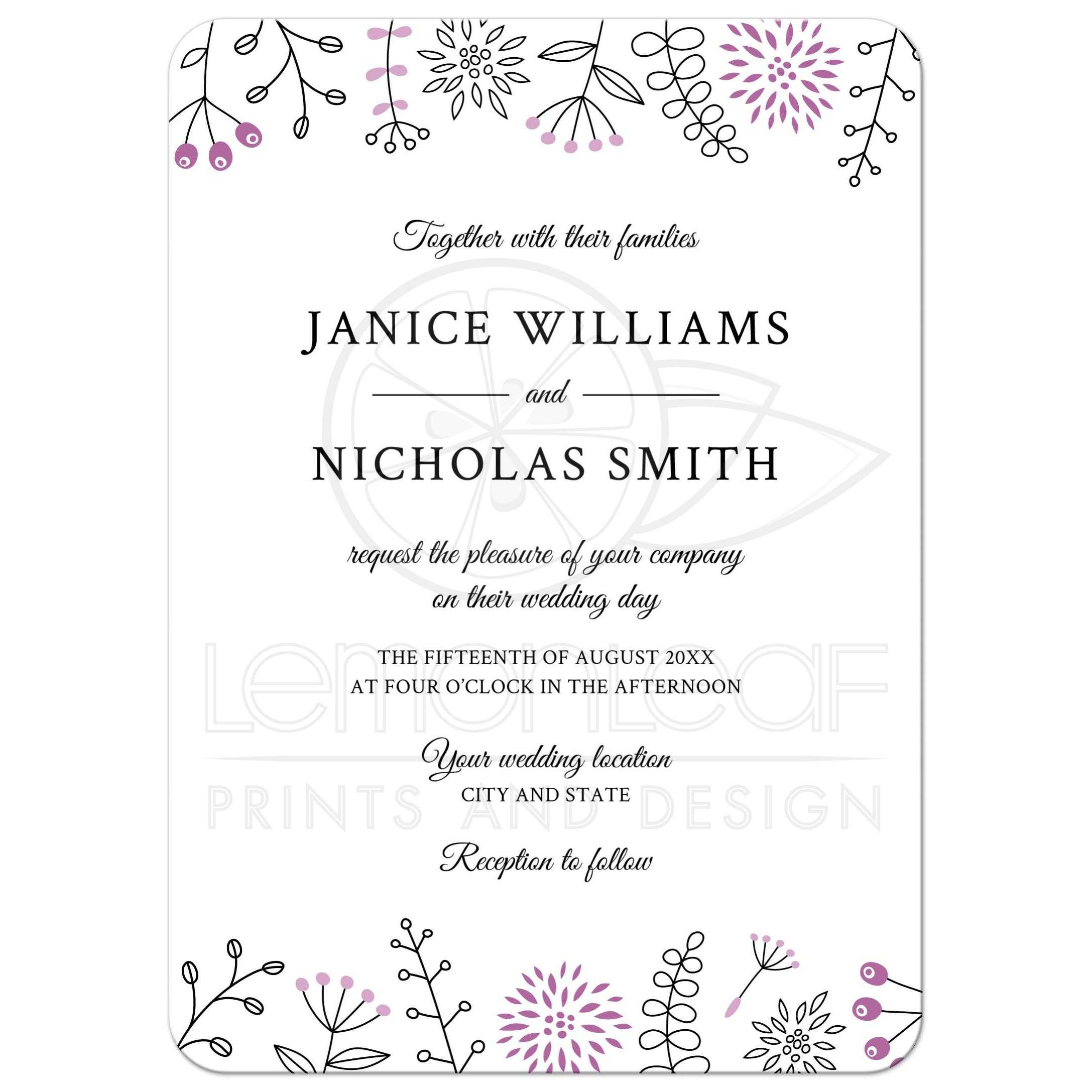 Purple nature and flower doodle border modern wedding invitation